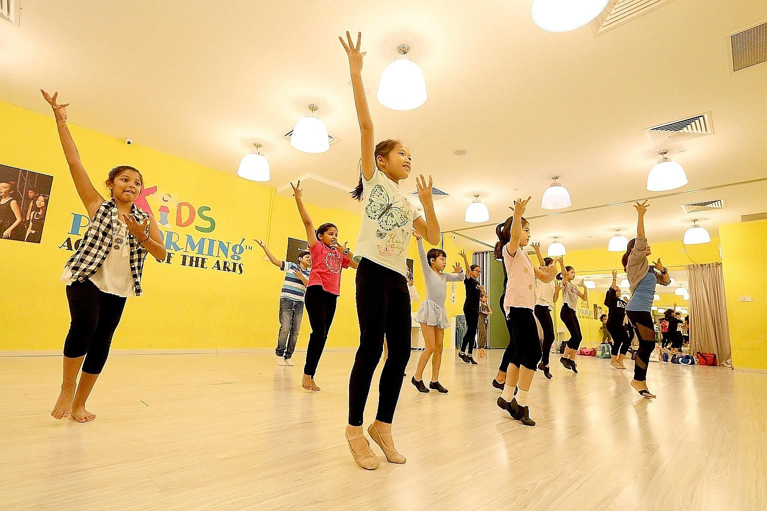 Eyes bright and heads held high, 16 dancers, ranging in age from eight to 16, rehearsed at the Kids Performing Academy for the Arts at Suntec City yesterday for their upcoming ChildAid performances. 	On Nov 24 and 25, they and other young performers