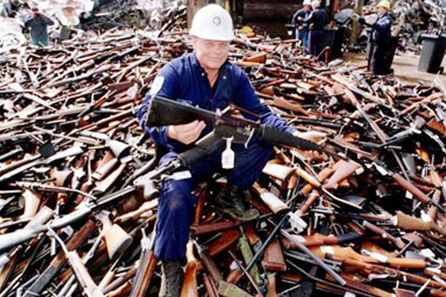 A 1996 photo taken in Melbourne of a pile of guns handed in after Australia banned automatic and semi-automatic weapons.