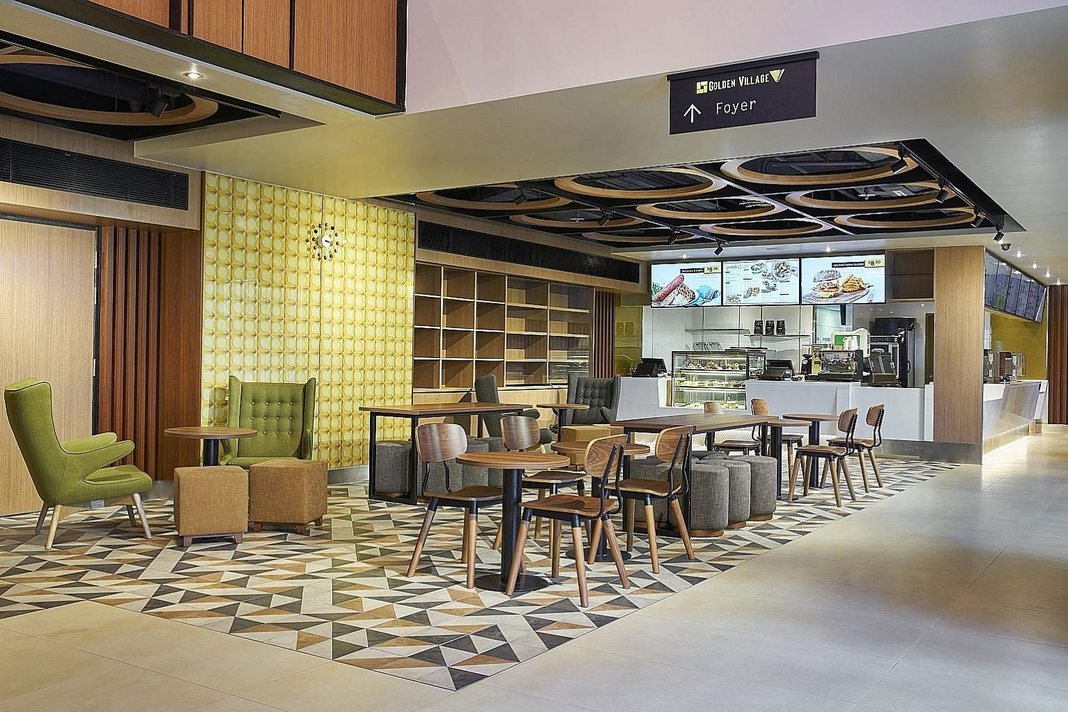 At GV Paya Lebar, grab exclusive food items at its Grab & Gold Cafe (above), or watch a screening in comfort in its premium-class Duo Deluxe auditorium (below), which has larger seats and better back support.