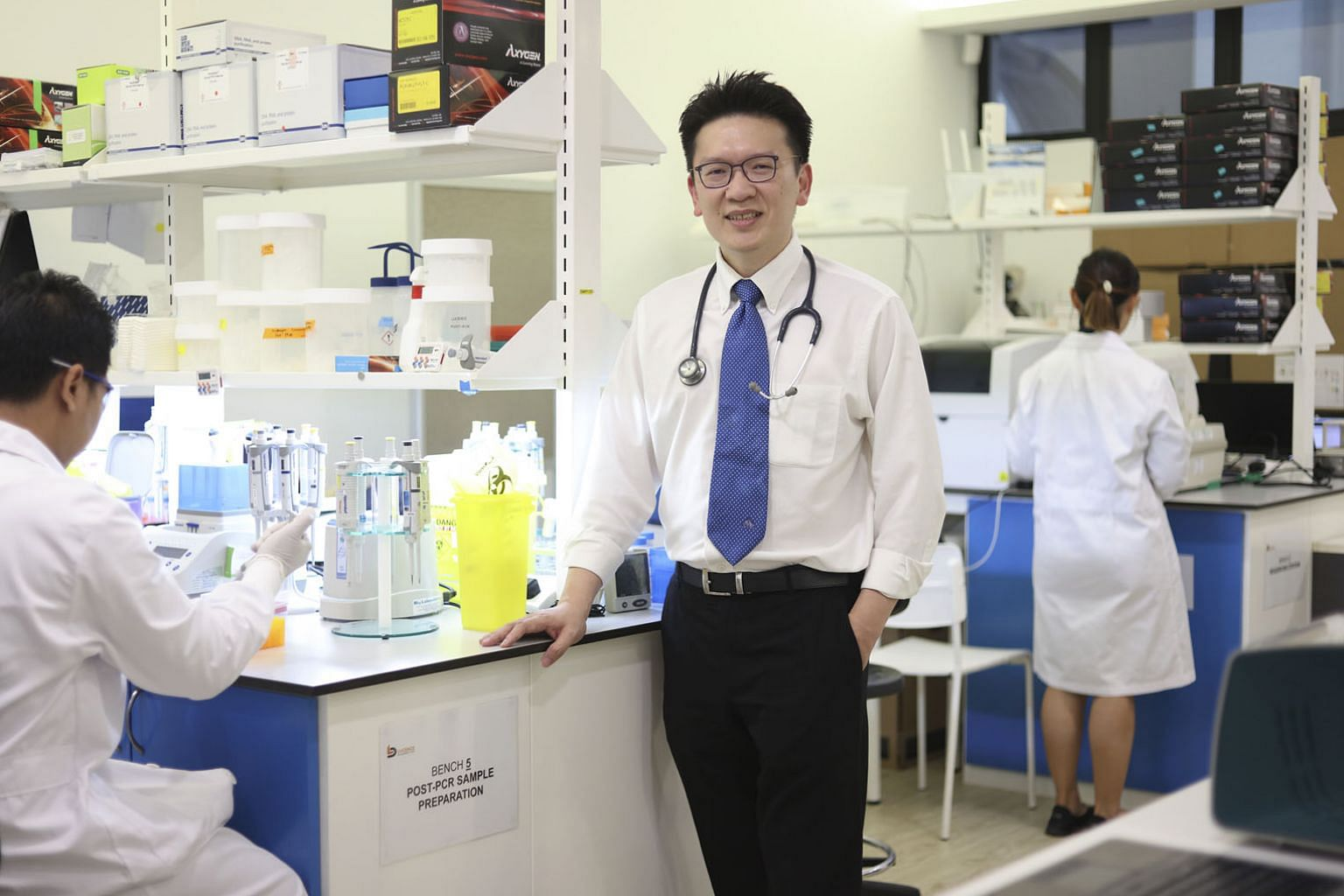 Dr Tan Min-Han, founder and CEO of Lucence Diagnostics, which has pioneered a liquid biopsy to easily detect nasopharyngeal cancer by examining a patient's blood. Through zooming in on a DNA fragment of the cancer-causing Epstein-Barr virus called BamHI-W