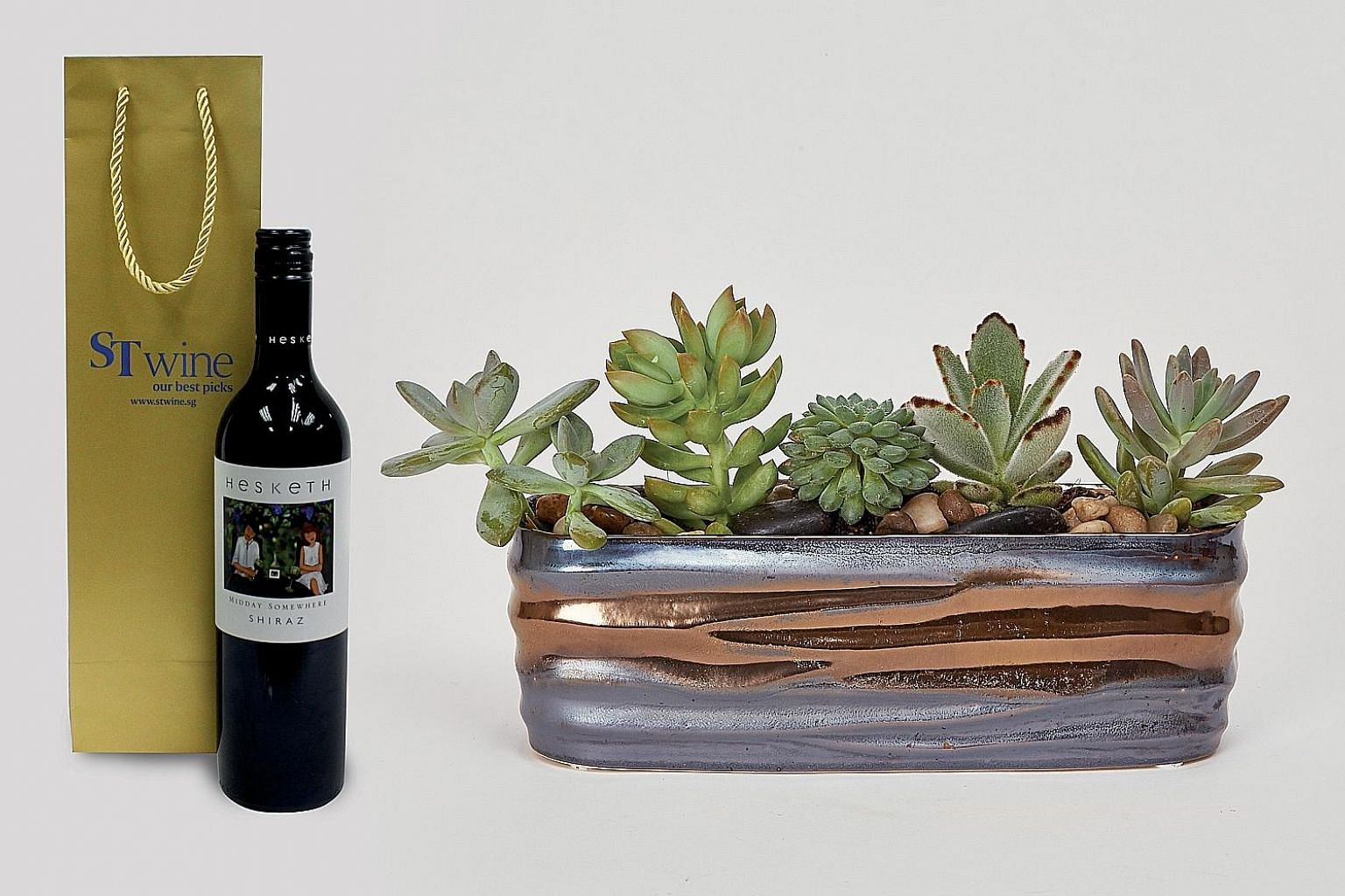 The new series of wine and floral gift sets which are now available on the ST Wine website includes the Harmony of Five, an arrangement of five succulents with one bottle of wine.