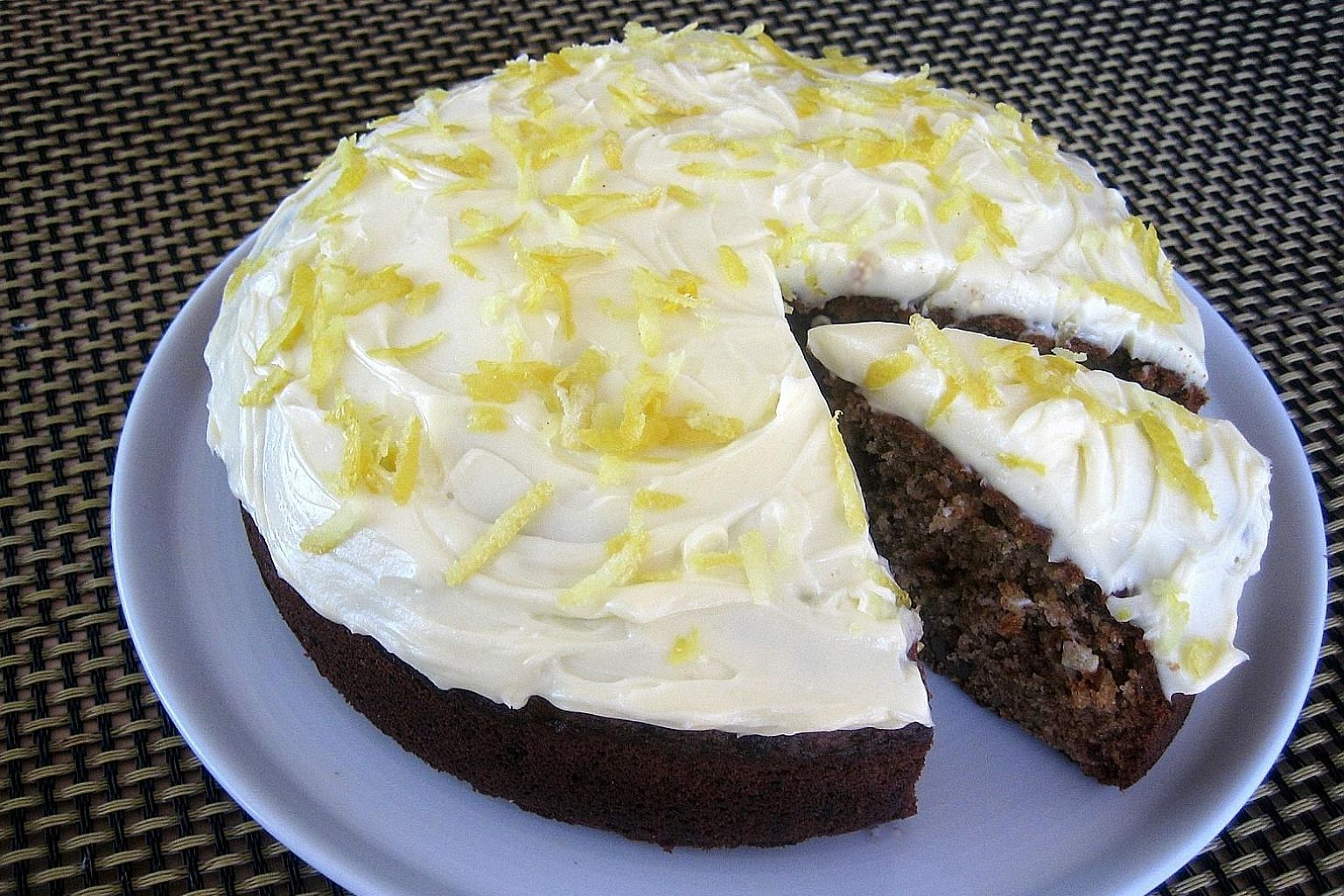 Slather the zucchini cake with a layer of cream cheese frosting and you are good to go.