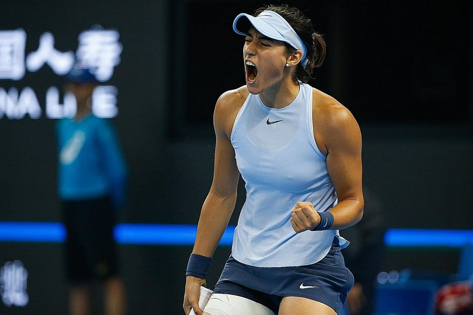 Caroline Garcia is all pumped up during her China Open final win over new world No. 1 Simona Halep in Beijing. She has broken into the top 10 and also edged ahead of Johanna Konta in the Race to Singapore but has to play former No. 1 Maria Sharapova