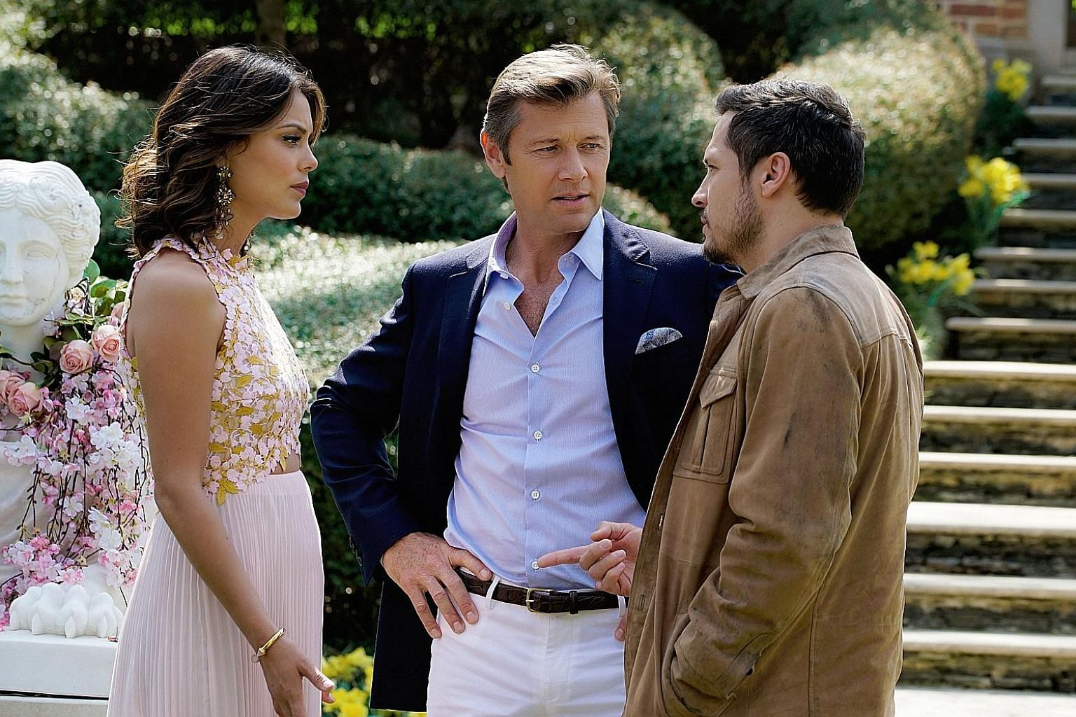 (From left) Nathalie Kelley, Grant Show and Nick Wechsler in the reboot of 1980s soap opera Dynasty.