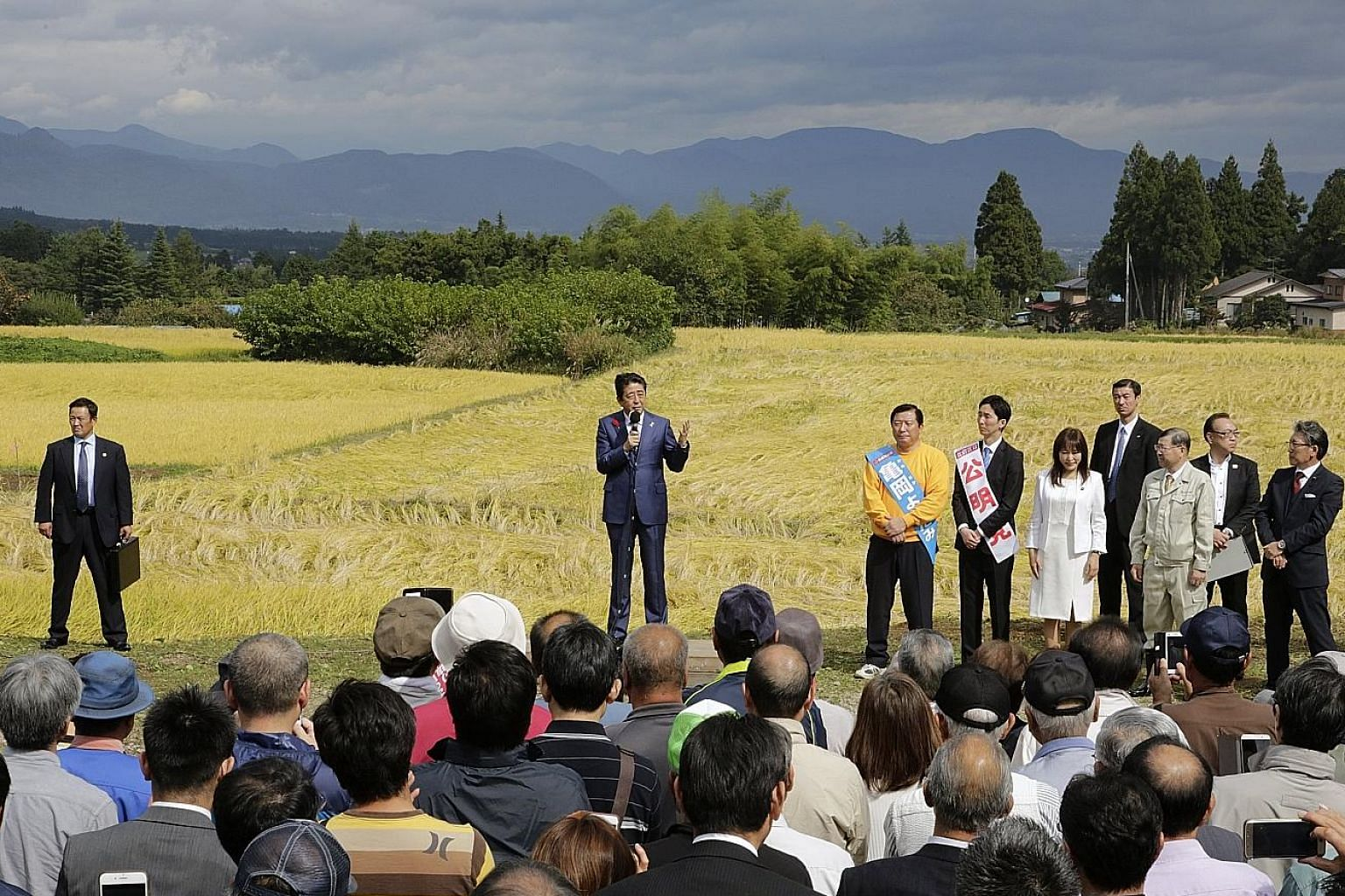 Tokyo Governor Yuriko Koike, who founded the Kibo no To (Party of Hope), speaking at a rally for party candidate Kaoru Matsuzawa, a lawyer, in the upmarket district of Azabujuban last week. Constitutional Democratic Party of Japan head Yukio Edano at