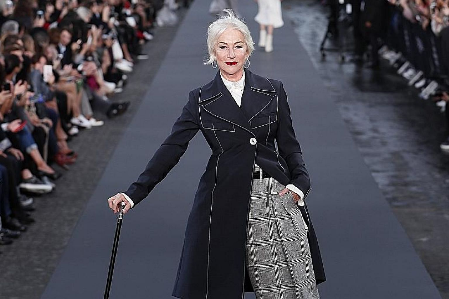 English actress Helen Mirren (above), 72, and American actress Jane Fonda (left), 79, took to the runway at the L'Oreal Fashion Show earlier this month during Paris Fashion Week.