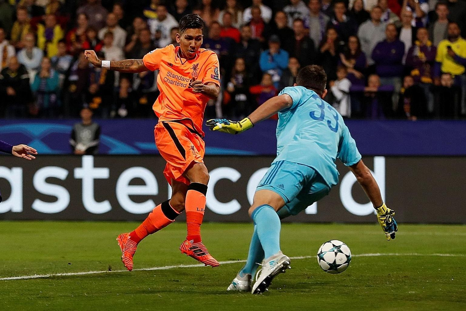 Liverpool forward Roberto Firmino opens the floodgates against Maribor with his fourth-minute strike. The Reds would add a further six goals.