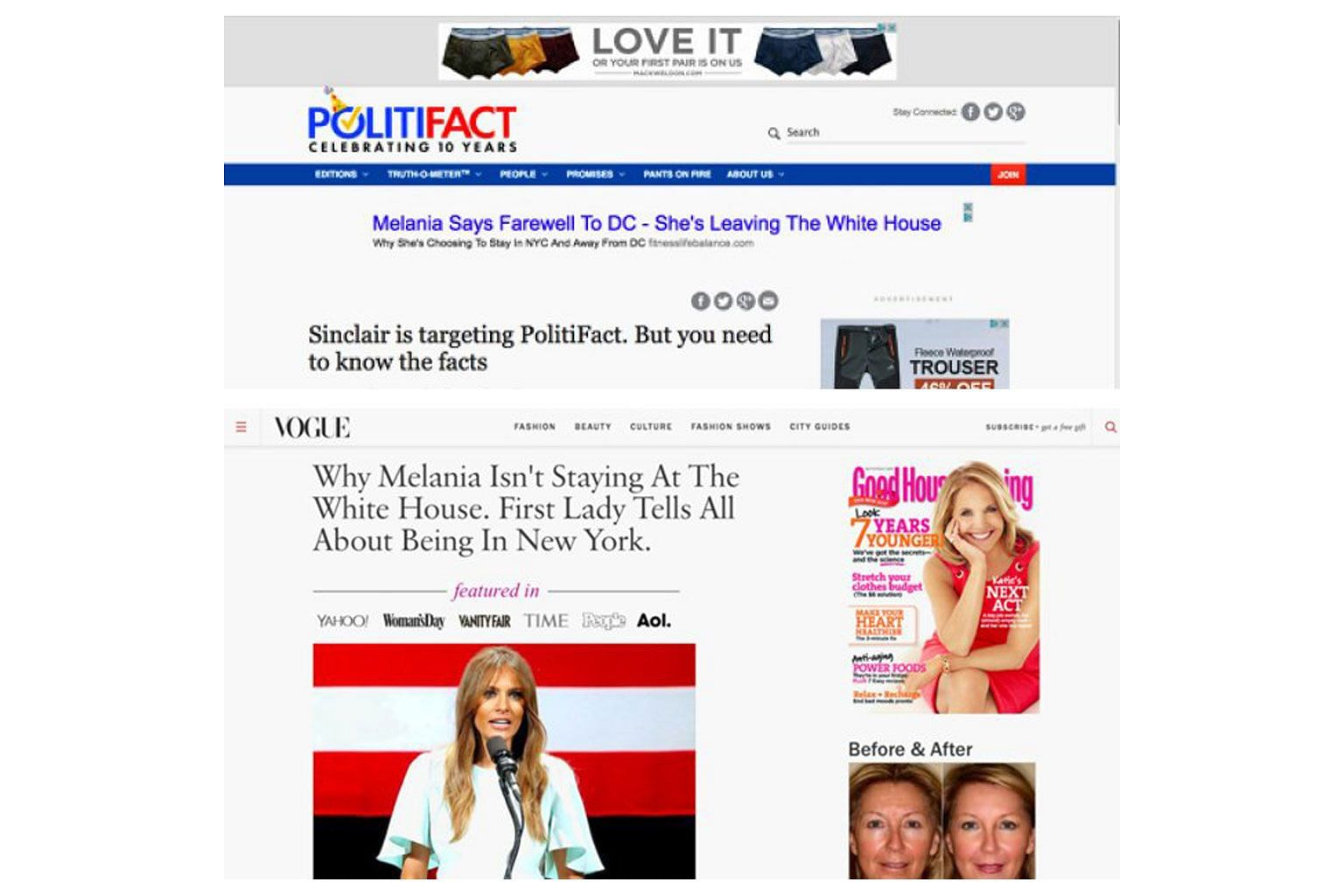 According to an examination by The New York Times, the enticing headlines in the fake news ads served as bait to draw readers to fraudulent websites that masqueraded as mainstream news sites, such as People and Vogue.