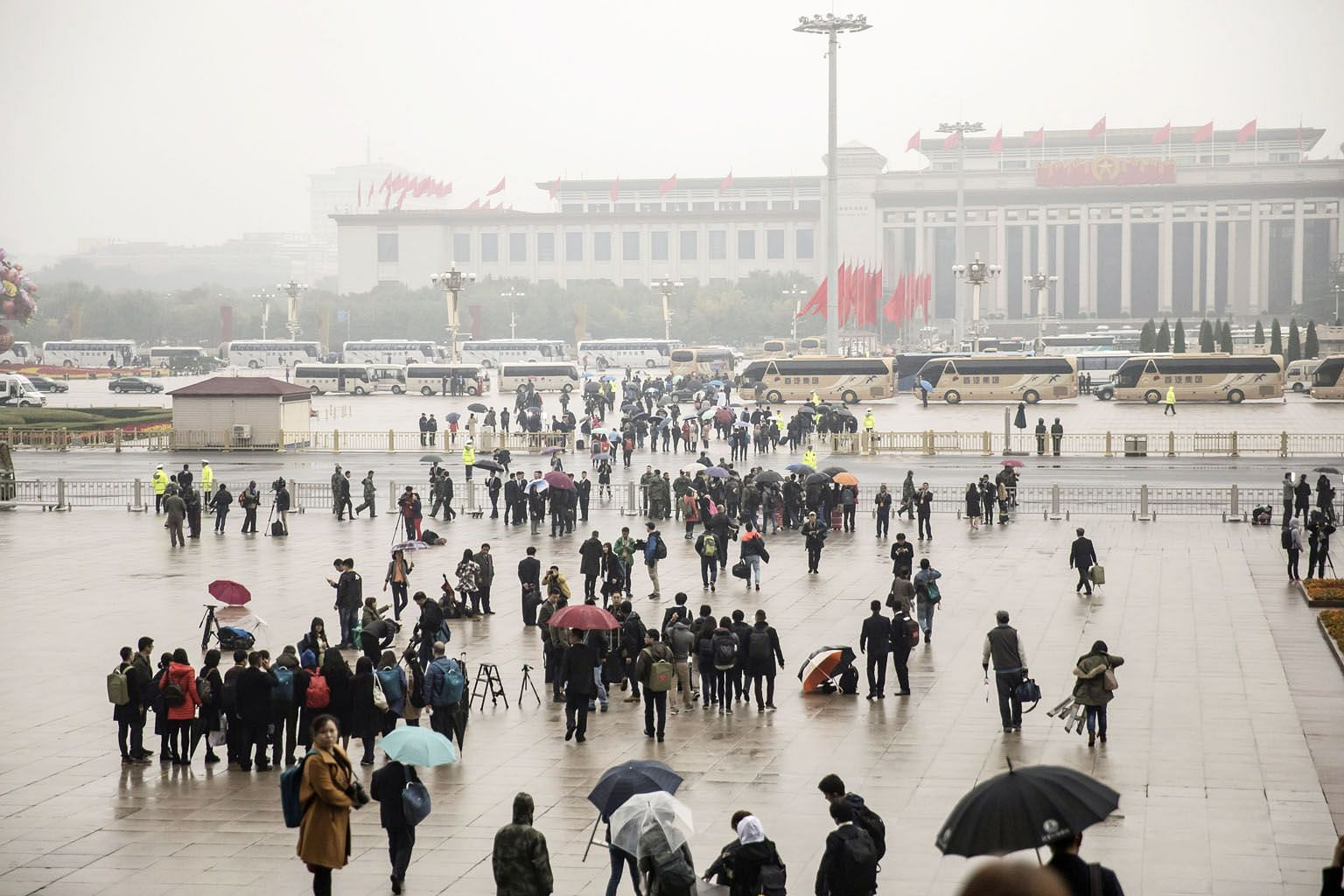 The scene outside the Great Hall of the People after the opening of the 19th National Congress of the Communist Party of China in Beijing, on Wednesday. General Secretary Xi Jinping talked about a major-country diplomacy with Chinese characteristics
