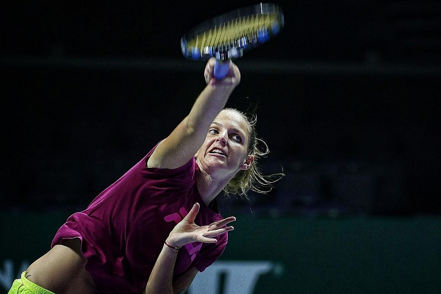 """Karolina Pliskova delivering to Rohit Brijnath a serve which he describes as """"a piece of languid architecture, oiled and unexaggerated""""."""