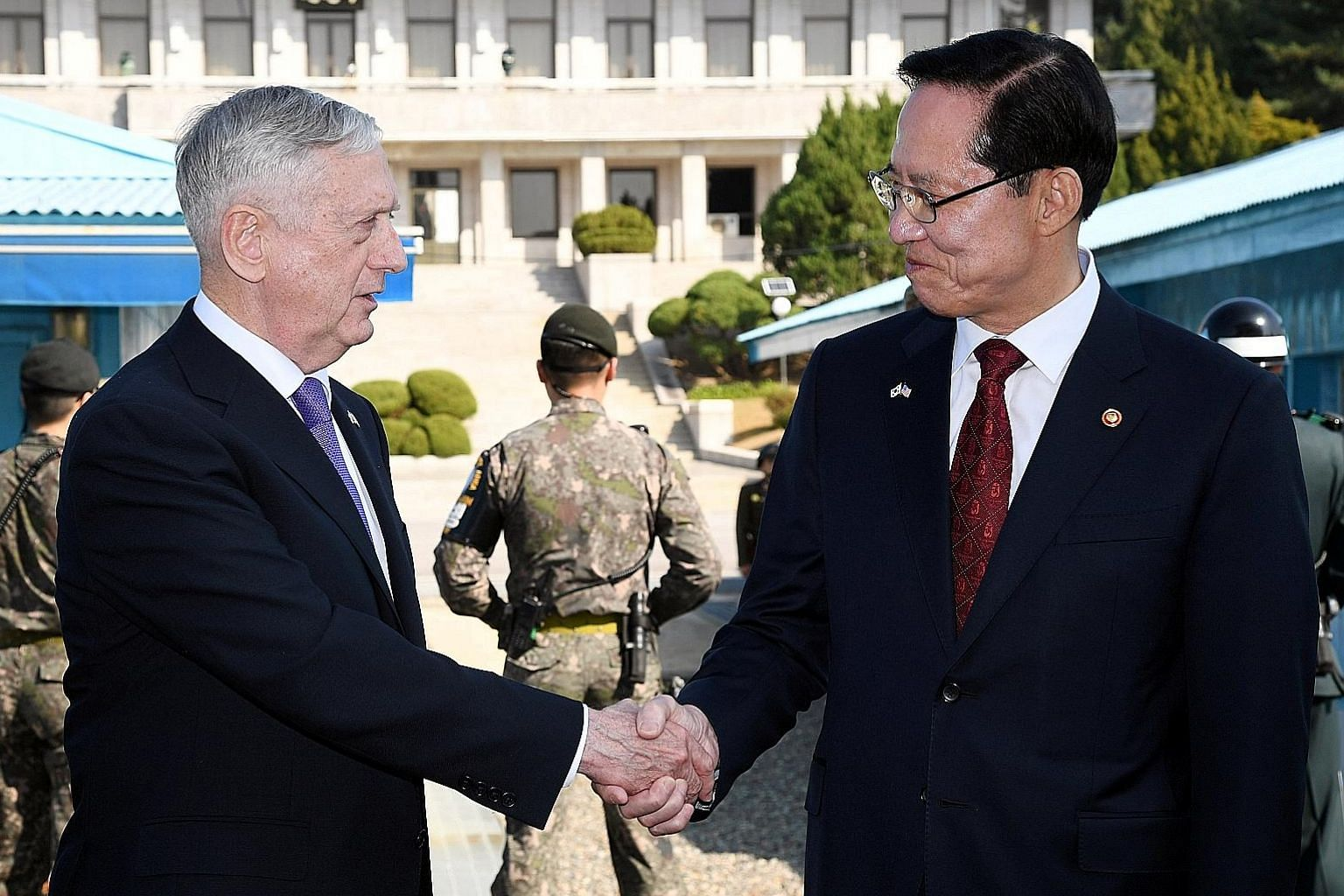 US Defence Secretary James Mattis and his South Korean counterpart Song Young Moo at the truce village of Panmunjom on the border between the two Koreas yesterday.