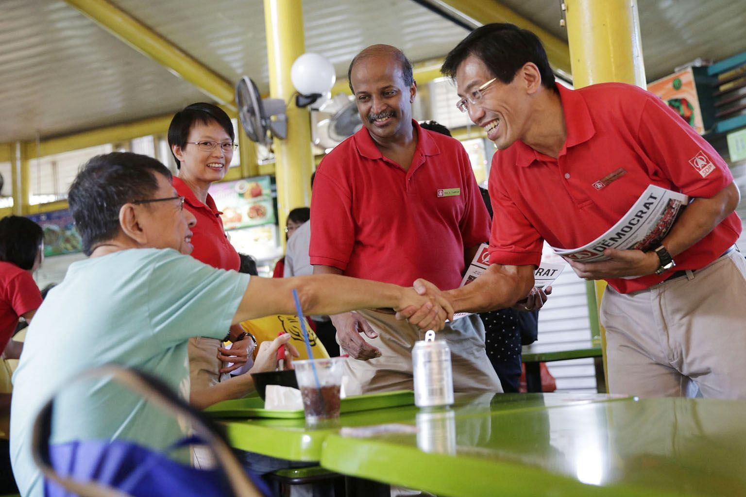 (From right) Dr Chee Soon Juan, Professor Paul Tambyah and Ms Chong Wai Fung of the Singapore Democratic Party campaigning at Adam Road Food Centre during the 2015 General Election. Prof Tambyah, the party's new chairman, said this month that the par