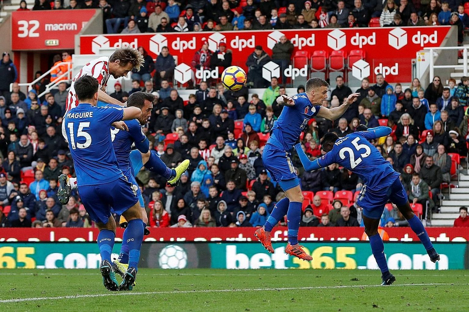 Substitute Peter Crouch powering home his bullet header to help hosts Stoke City earn a point in a 2-2 Premier League draw with Leicester.