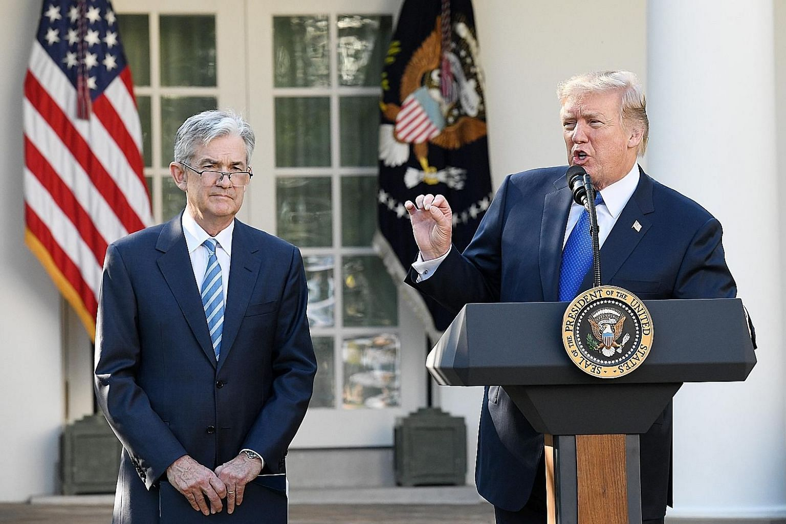 Considering President Donald Trump's record for doing the unexpected, there was always the chance he would pick an iconoclast to shake up the Federal Reserve. For once, he did not make waves, settling on Mr Jerome Powell (far left), a Washington insi