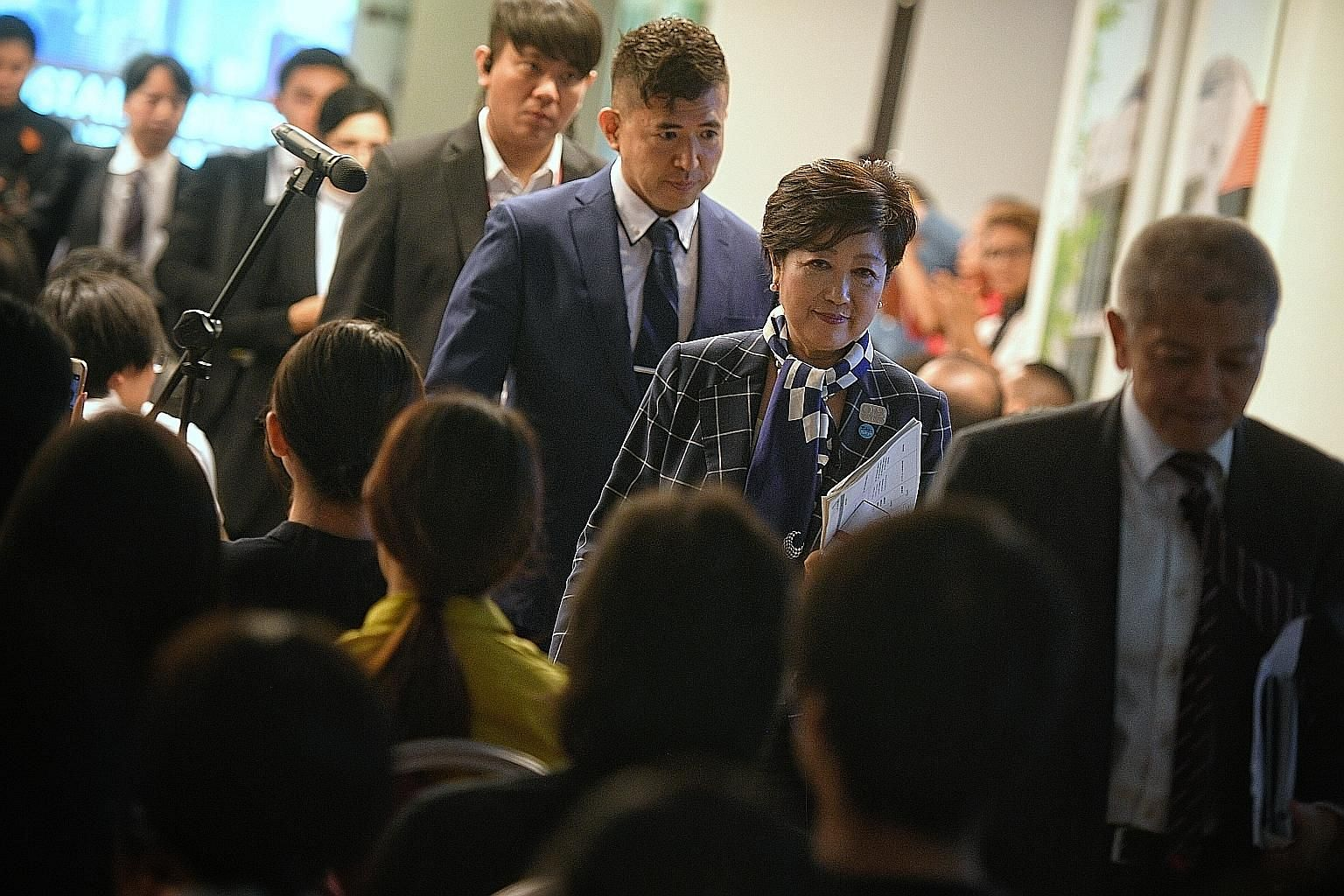 Tokyo governor Yuriko Koike at the Lee Kuan Yew School of Public Policy yesterday, where she gave a lecture about environmental and financial leadership in Tokyo. Her three-day visit to Singapore ends today.