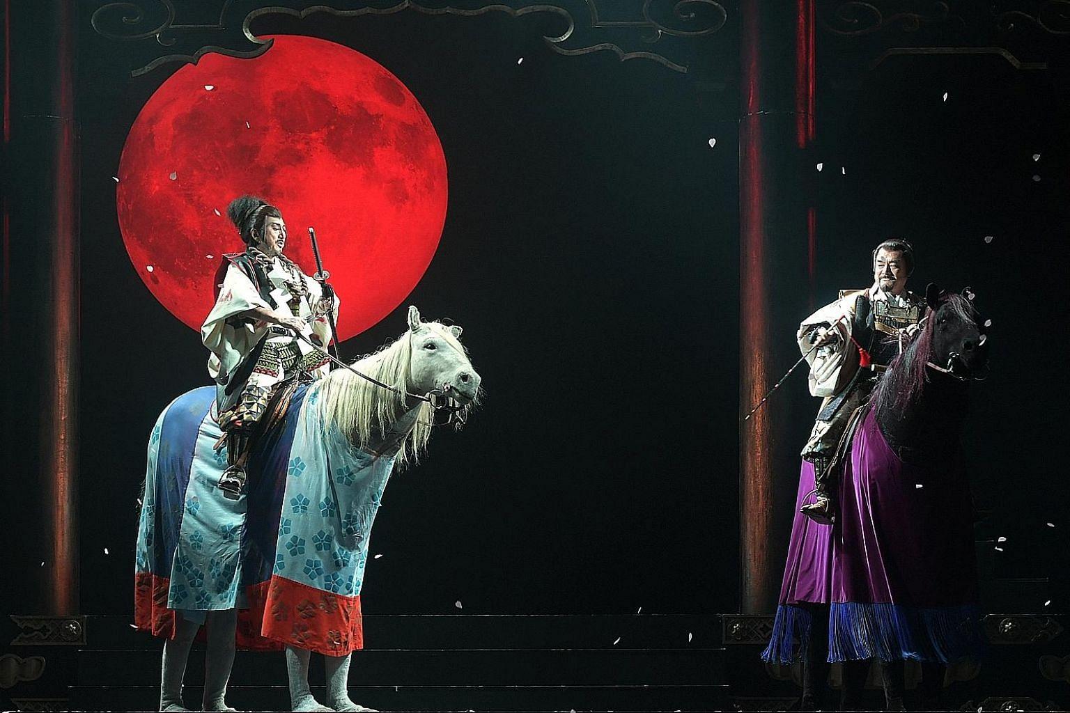 Macbeth (Masachika Ichimura, above left) and Banquo (Kazunaga Tsuji) in the Ninagawa Company's Macbeth.