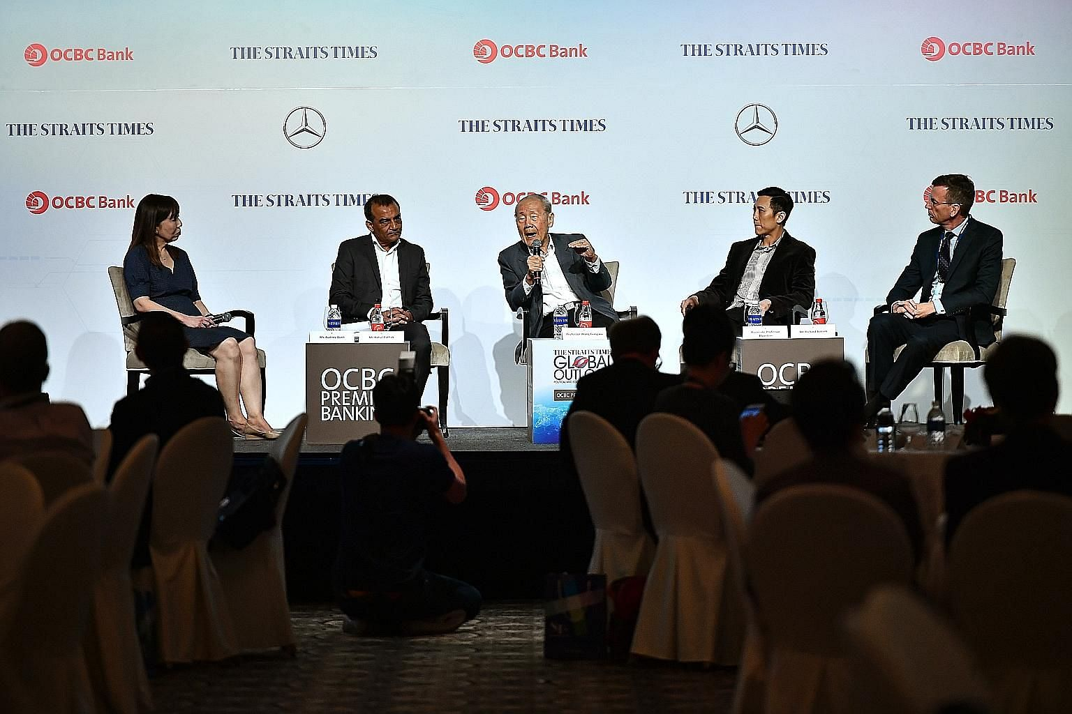 Taking the stage at The Straits Times Global Outlook Forum yesterday were (from left) Ms Audrey Quek, moderator and ST opinion editor; Mr Rahul Pathak, ST associate editor; Professor Wang Gungwu, chairman of the ISEAS - Yusof Ishak Institute and NUS'