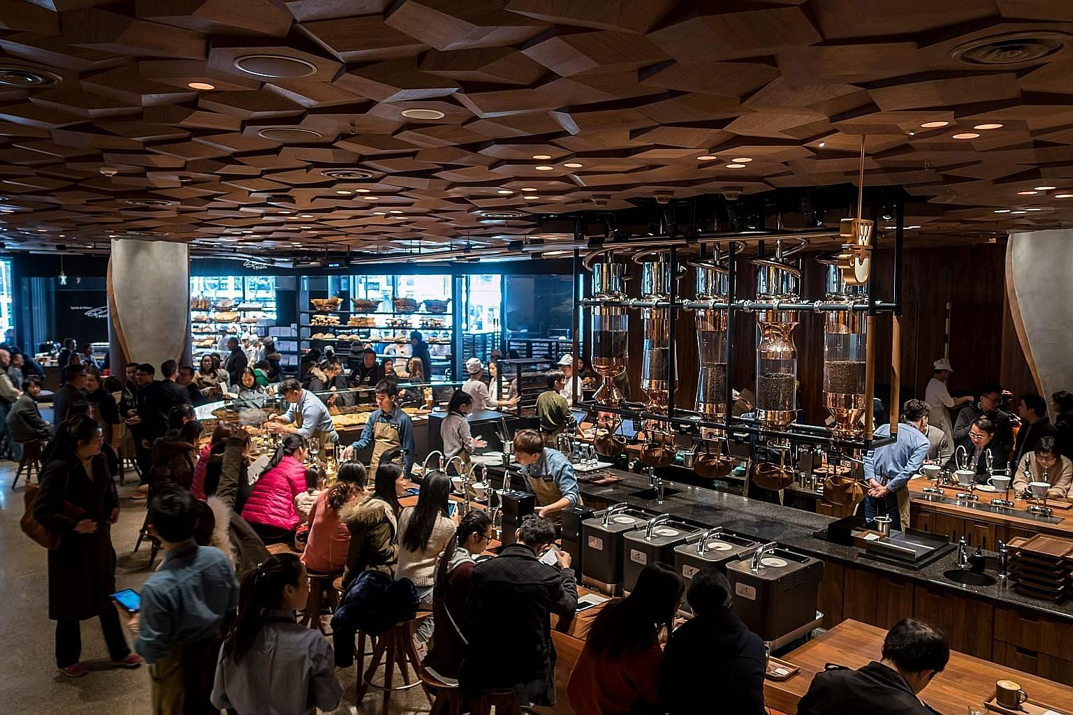 The Starbucks Reserve Roastery outlet in Shanghai yesterday. It spans 2,700 sq m - nearly half a football field.