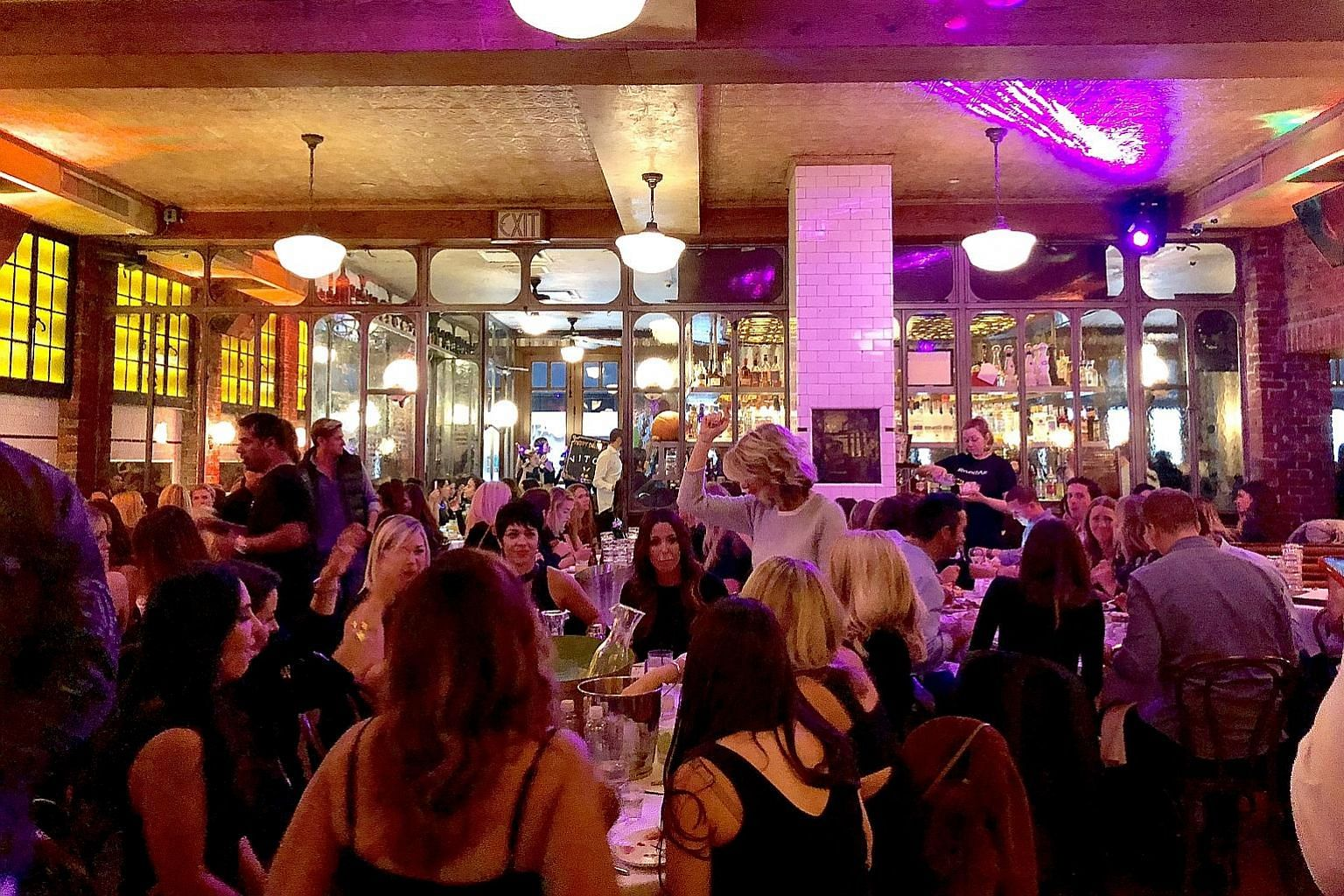 A full-house Saturday brunch session at Lavo New York.