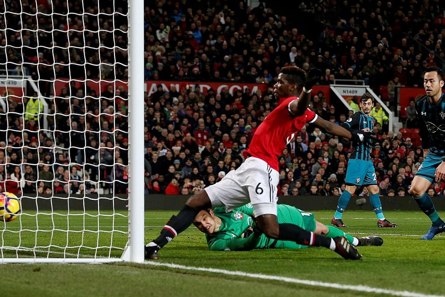 Manchester United's Paul Pogba putting the ball in the Southampton net in the 81st minute but it was disallowed for offside. The Premier League match ended 0-0, which was United's third consecutive draw in the league.