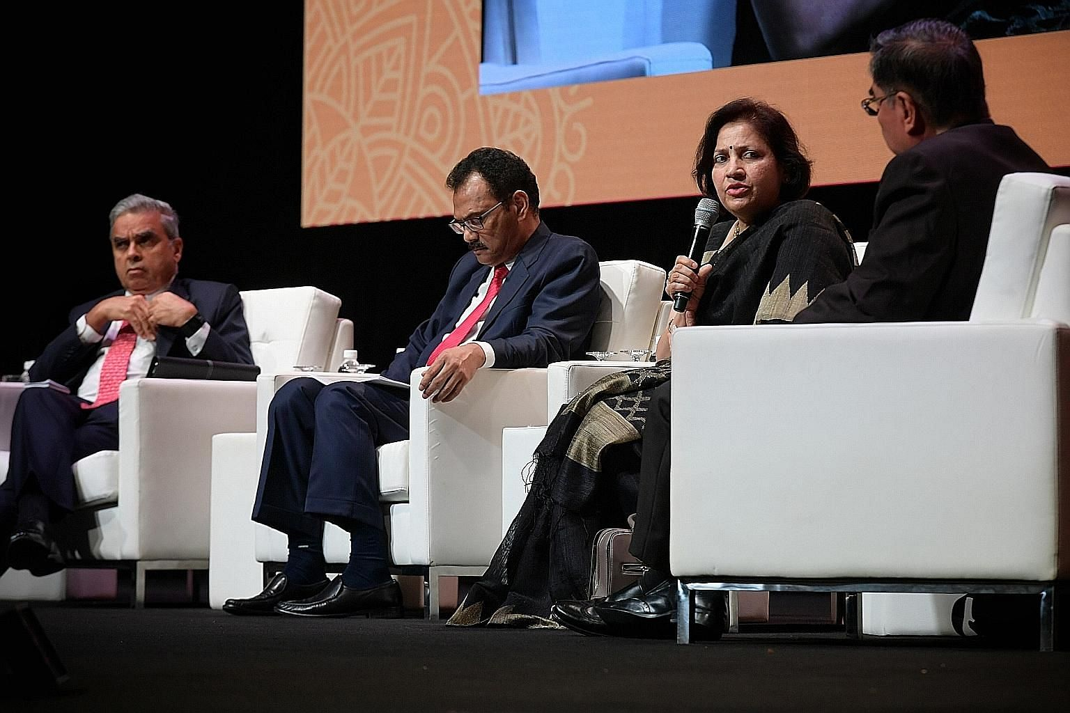 From left: The Lee Kuan Yew School of Public Policy's immediate past dean Kishore Mahbubani; Malaysian Deputy Minister in the Prime Minister's Office S.K. Devamany; senior diplomat in India's Ministry of External Affairs Preeti Saran; and Ambassador-