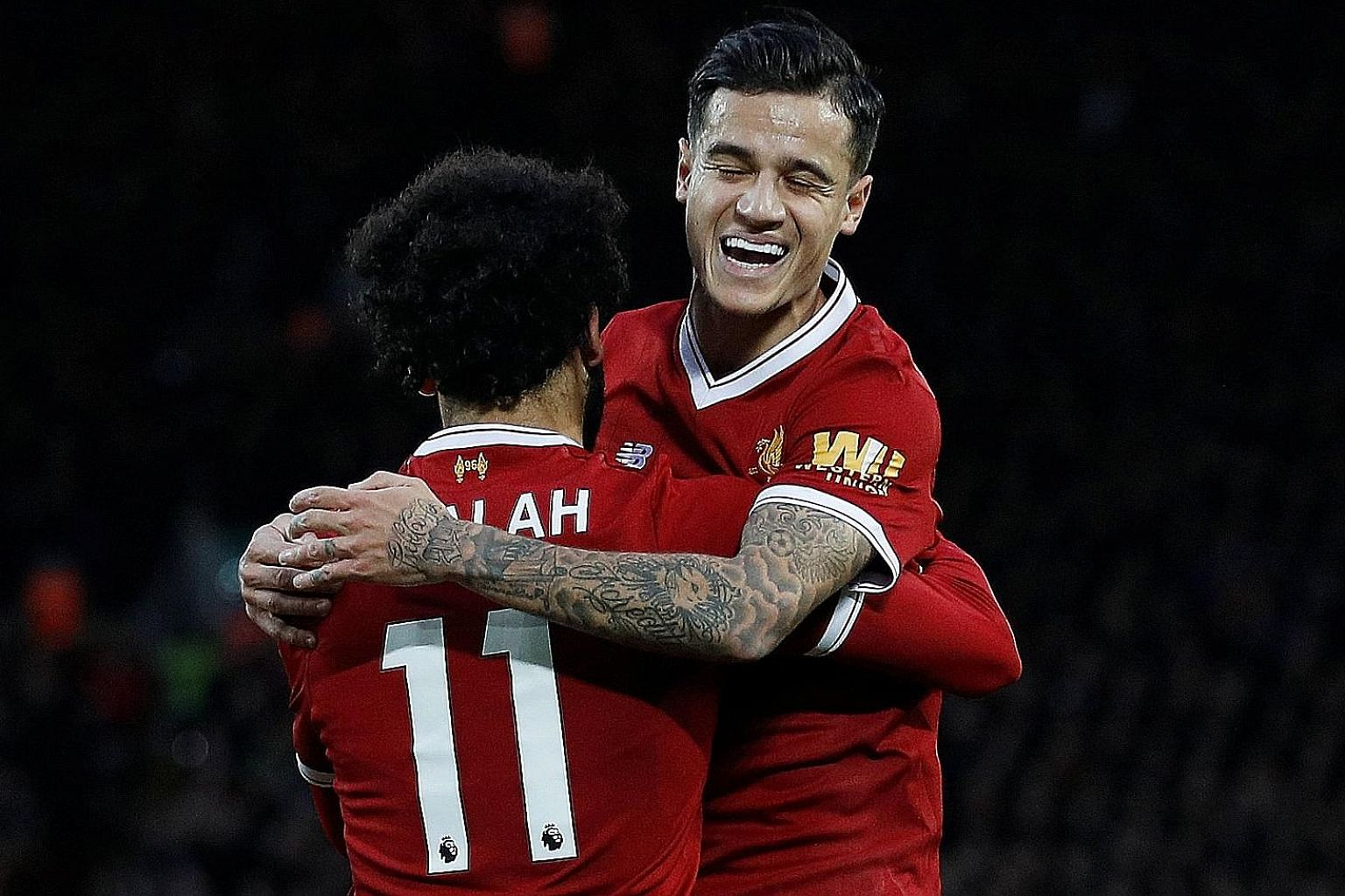 Liverpool's top scorer Mohamed Salah celebrates with top creator Philippe Coutinho after a goal against Southampton in the Premier League in November. Liverpool will not find it easy to replace him, with Leicester forward Riyad Mahrez and Monaco forw