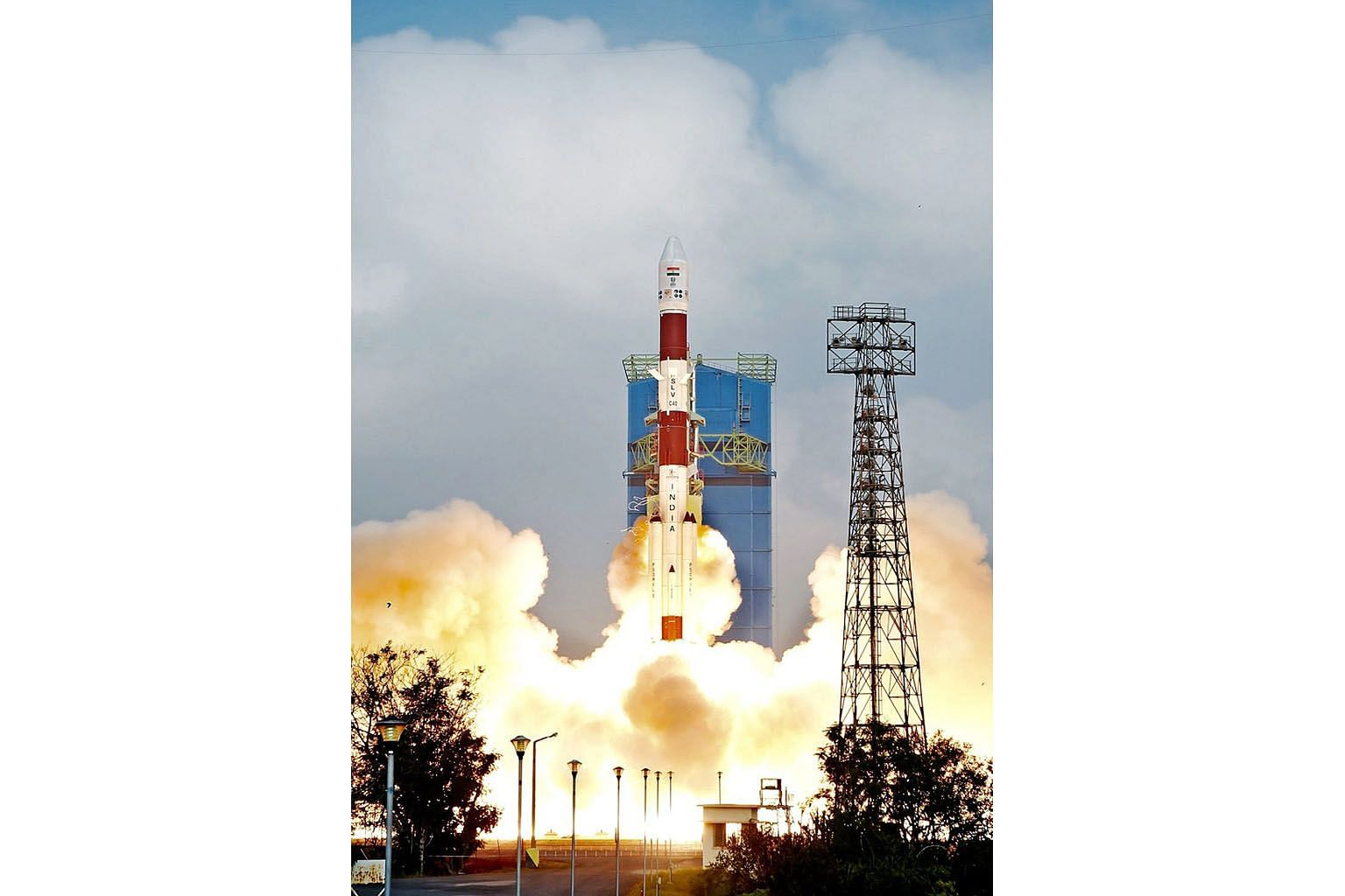 The Indian Space Research Organisation's Polar Satellite Launch Vehicle lifting off from Sriharikota in southern Andhra Pradesh state yesterday.