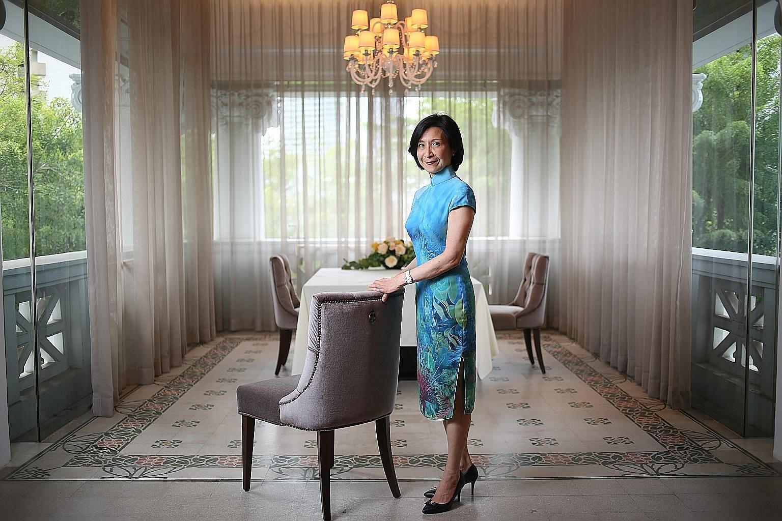 Ms Chew Gek Khim grew up in the Cairnhill Road house owned by her banker grandfather Tan Chin Tuan. The conserved building is now used for business and family gatherings and activities of the philanthropic Tan Chin Tuan Foundation. Ms Chew now lives