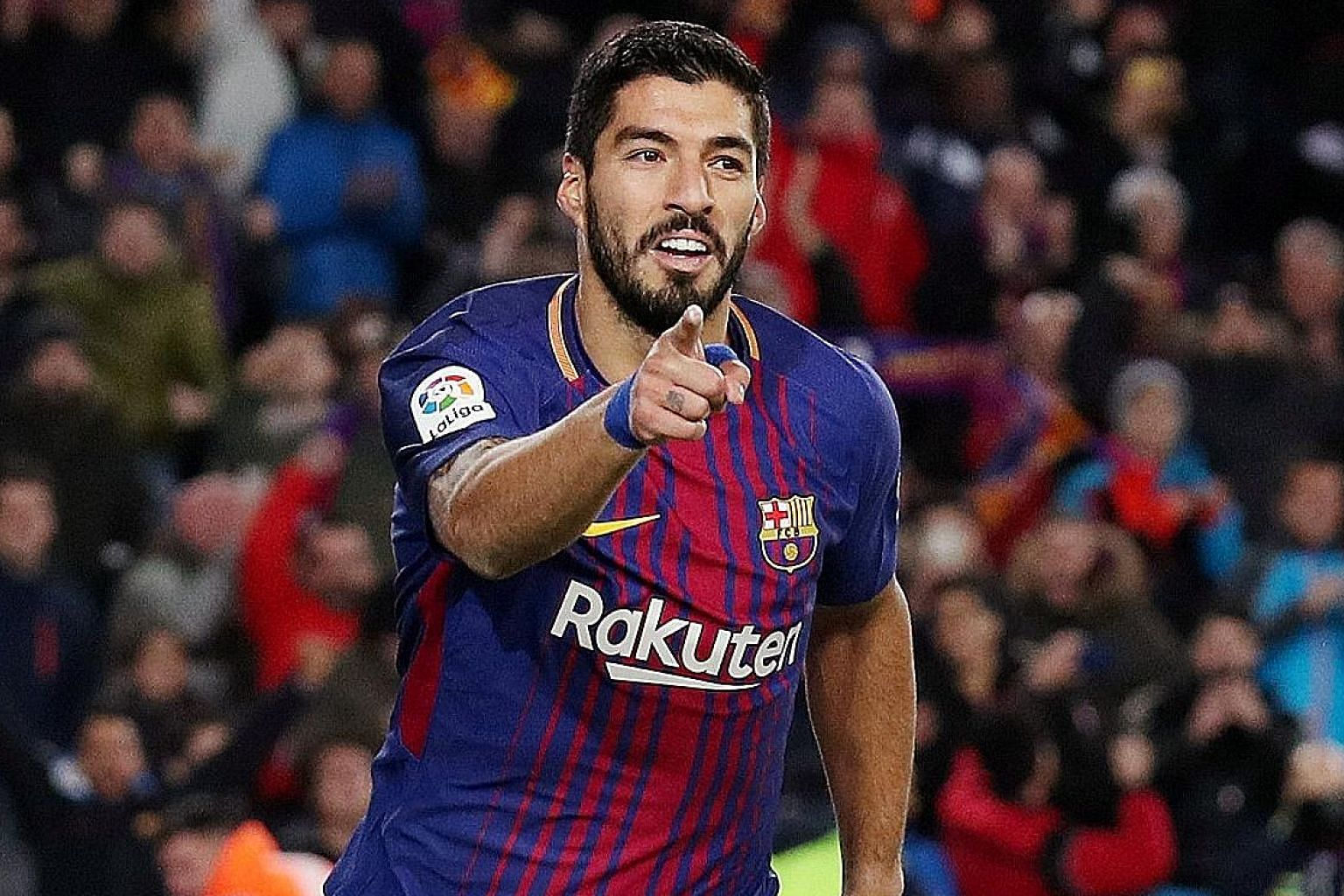 Barcelona's Luis Suarez celebrating scoring against Valencia in the Spanish King's Cup. It was the Uruguayan's ninth goal against Valencia, the team he has scored most against since moving to Spain in 2014.