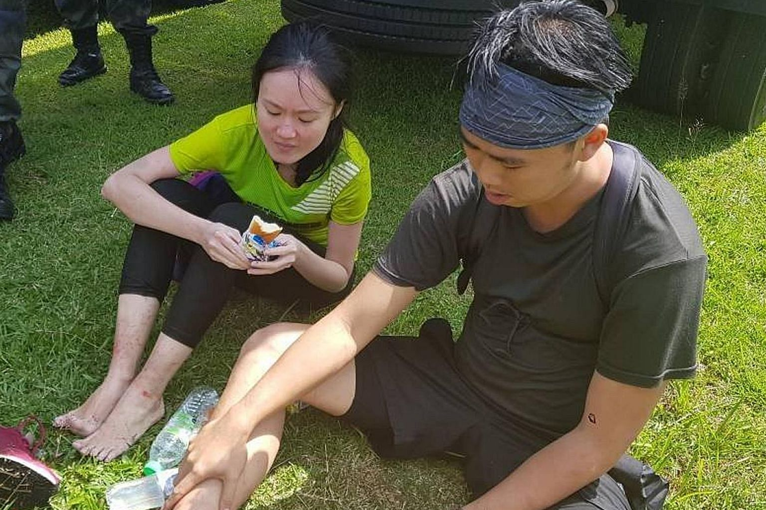 Mr Dominick Tan Chang Xiang and Ms Lum Jie were rescued by boat yesterday morning after rescuers in a helicopter spotted them near Ulu Choh Dam. They were taken to Pontian Hospital. The doctor who examined them said they had minor scratches and were