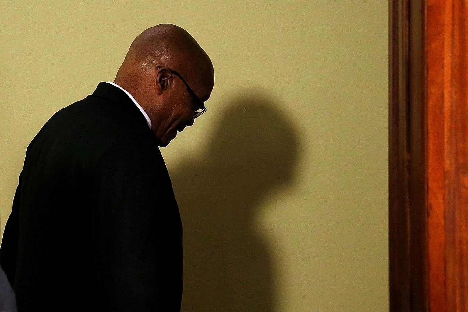 Mr Jacob Zuma making his exit after announcing his resignation in Pretoria on Wednesday. The scandal-plagued head of state said he disagreed with the way the ANC had pushed him towards an early exit after Mr Cyril Ramaphosa replaced him as party pres
