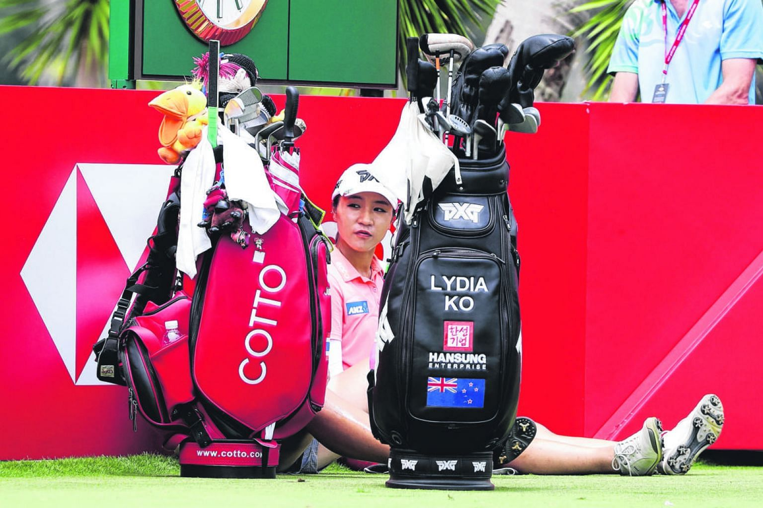 Former World No. 1 Lydia Ko resting at the 17th tee. She hit only nine greens yesterday as she finished in joint 27th place with a 71.