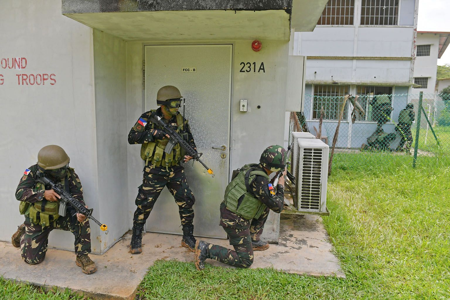 Philippine troops in a drill at the Murai Urban Training Facility in Lim Chu Kang as part of an exchange with the Singapore Armed Forces last December. Unless the guardians of security in the region move from counter-terrorism cooperation to collabor