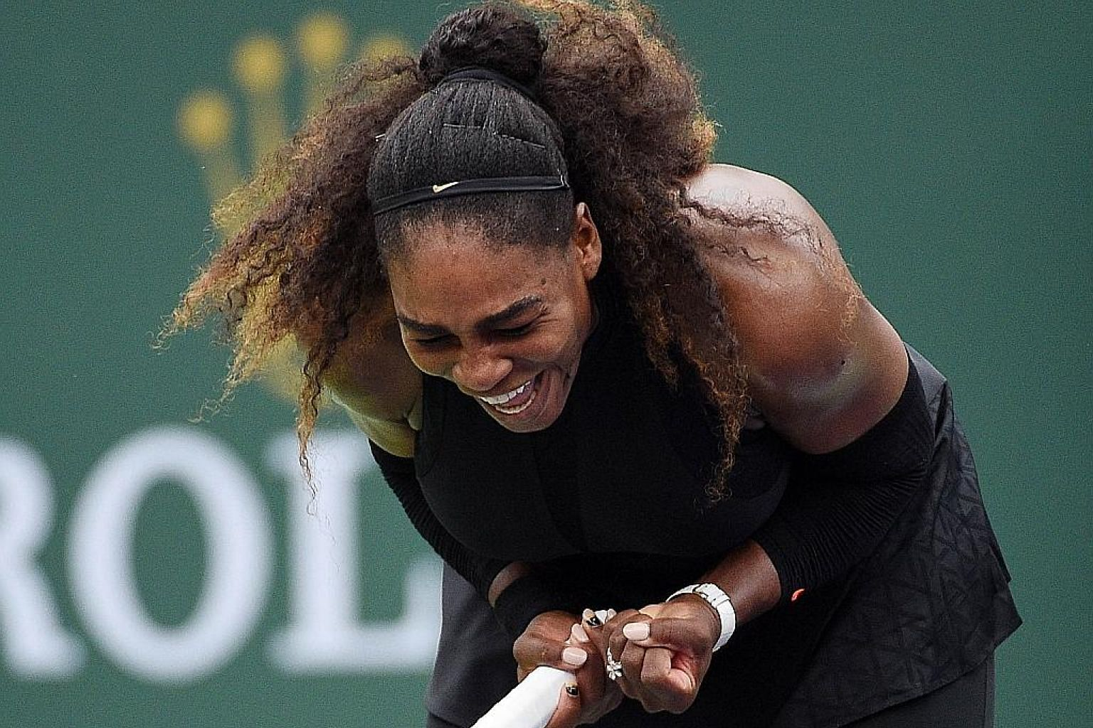 Serena Williams celebrates after her 7-6 (7-5), 7-5 victory against No. 29 seed Kiki Bertens of the Netherlands in the second round of the BNP Paribas Open at Indian Wells, California, on Saturday. Unseeded Serena leads the head-to-head against her s