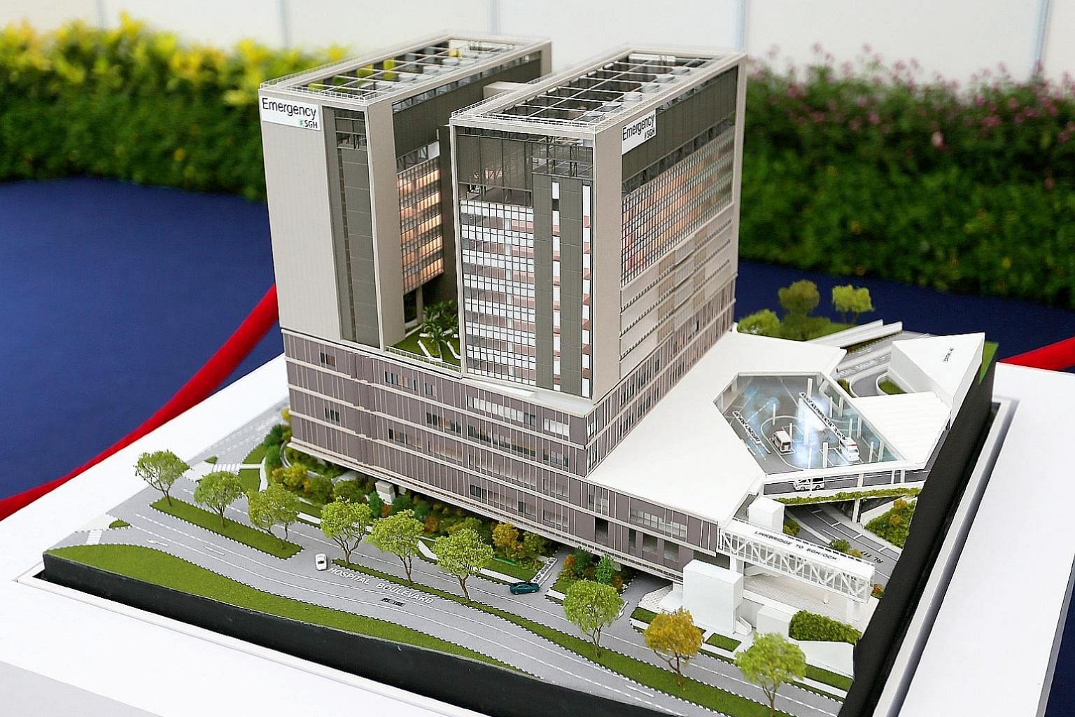 A model of the Singapore General Hospital's emergency medicine building, which is expected to be completed in 2023.