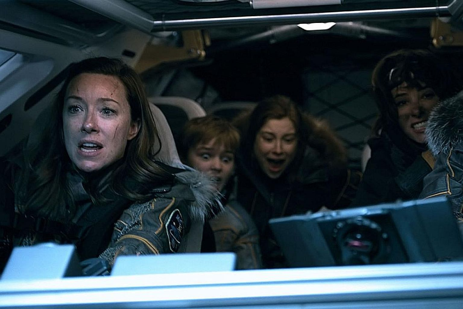 Lost In Space, inspired by The Swiss Family Robinson, stars (from far left) Molly Parker, Max Jenkins, Mina Sundwall, Taylor Russell and Toby Stephens.