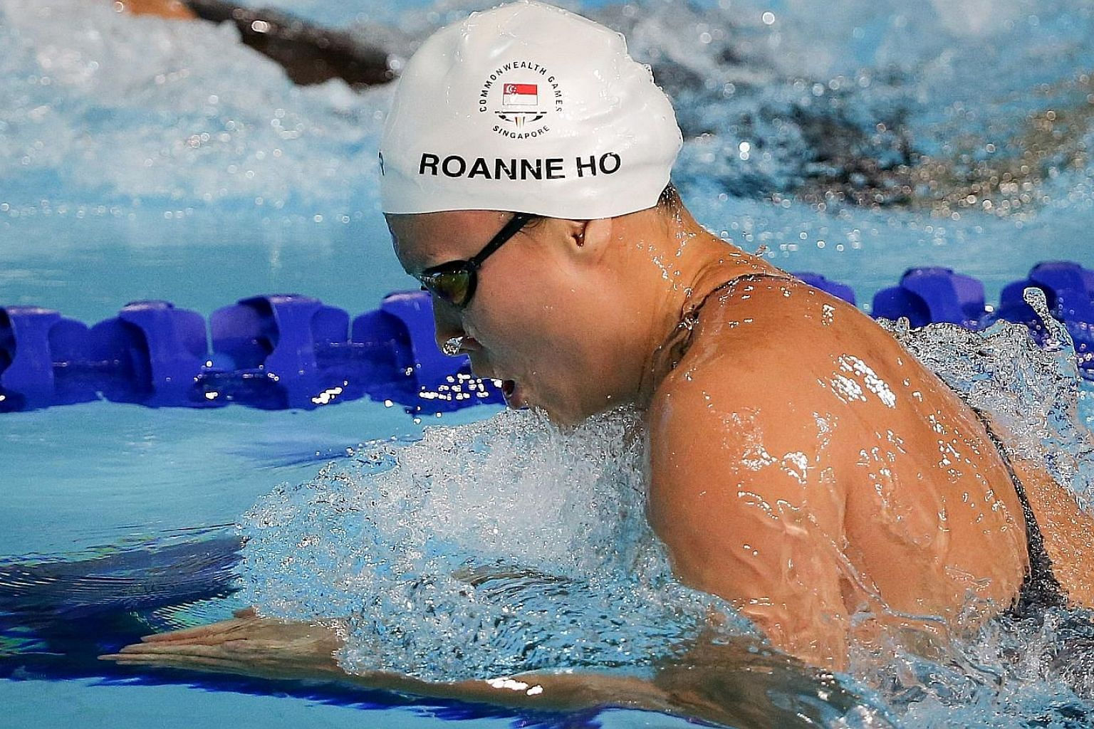 Roanne Ho in the semi-finals of the 50m breaststroke at the Optus Aquatic Centre. She was 0.02sec outside her national mark but squeezed into the final as the slowest qualifier.