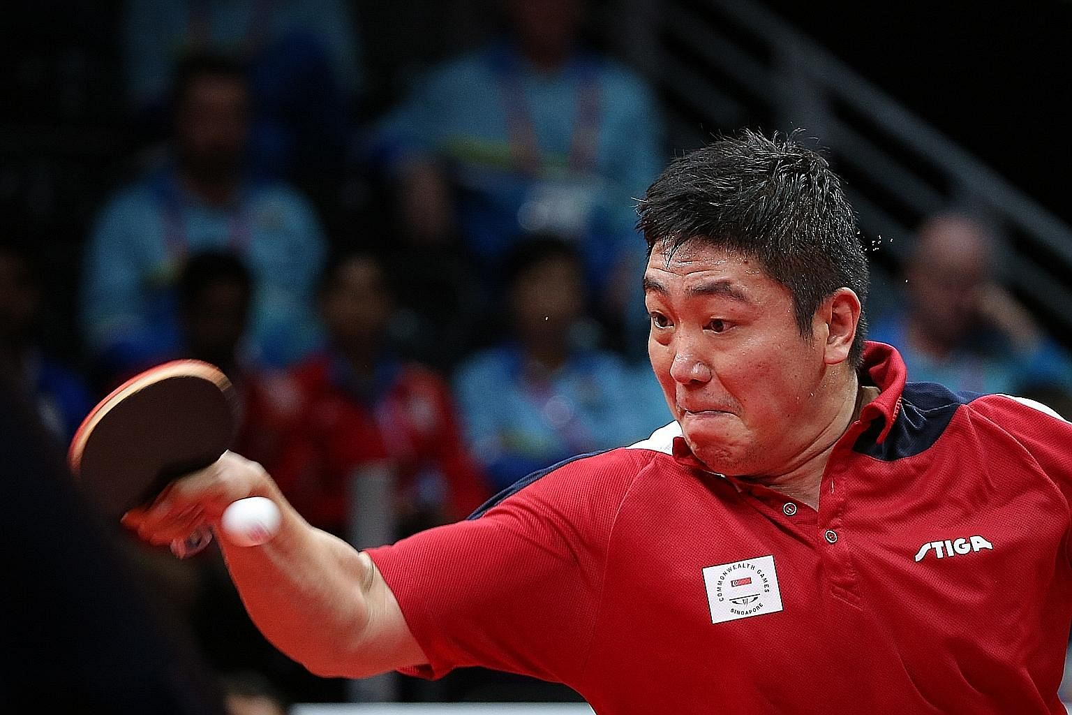 Gao Ning of Singapore in action against Nigeria's Quadri Aruna (not pictured) yesterday at the Commonwealth Games. He finally won his first men's singles gold medal after beating his opponent 4-2. Singapore's table tennis team ended the Games with th