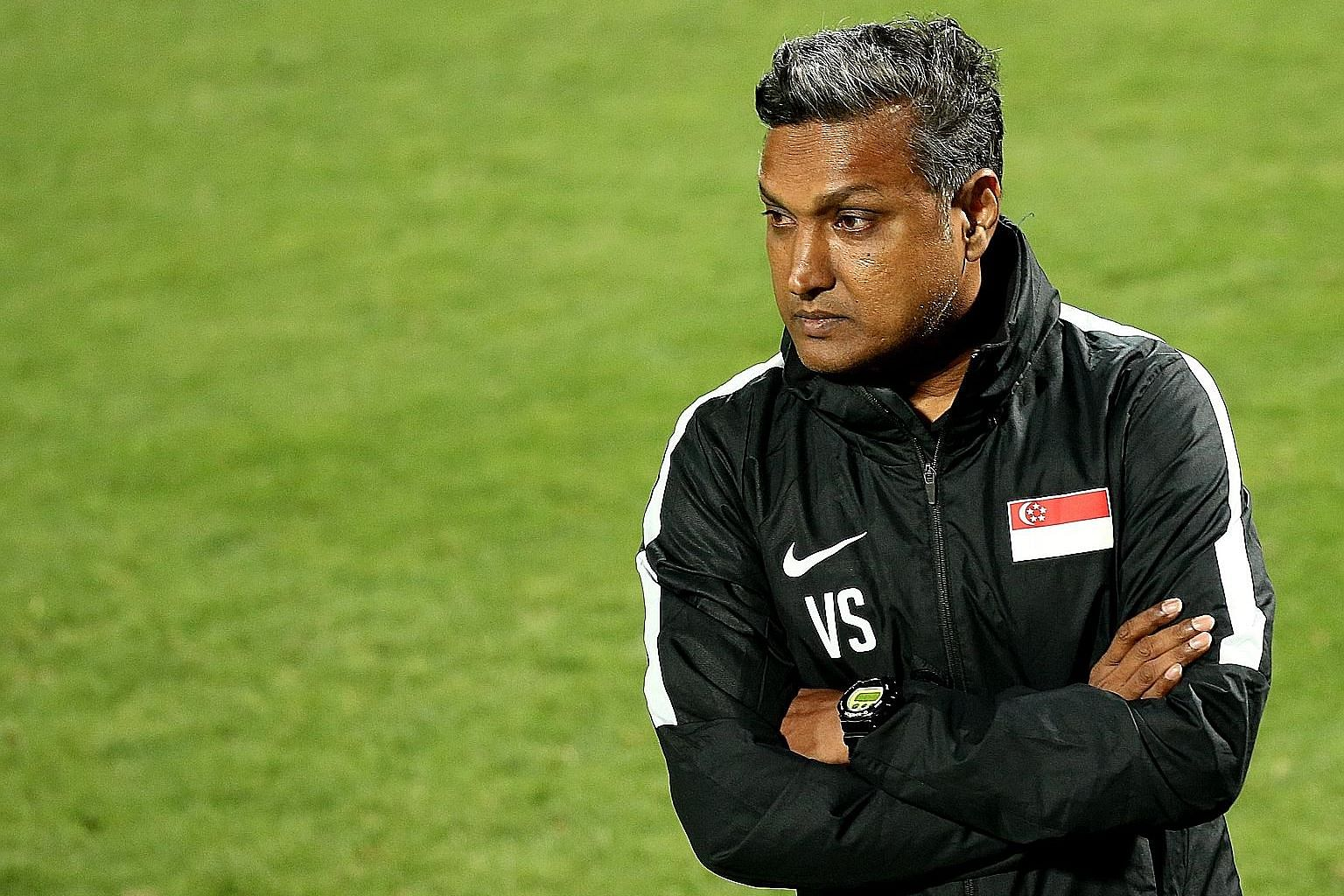 From top: Players and coaches generally felt that former Singapore coach Sundram's safety-first approach was more suited to league football, whereas goals and wins are needed in international qualification tournaments or knockout games. One of Sundra