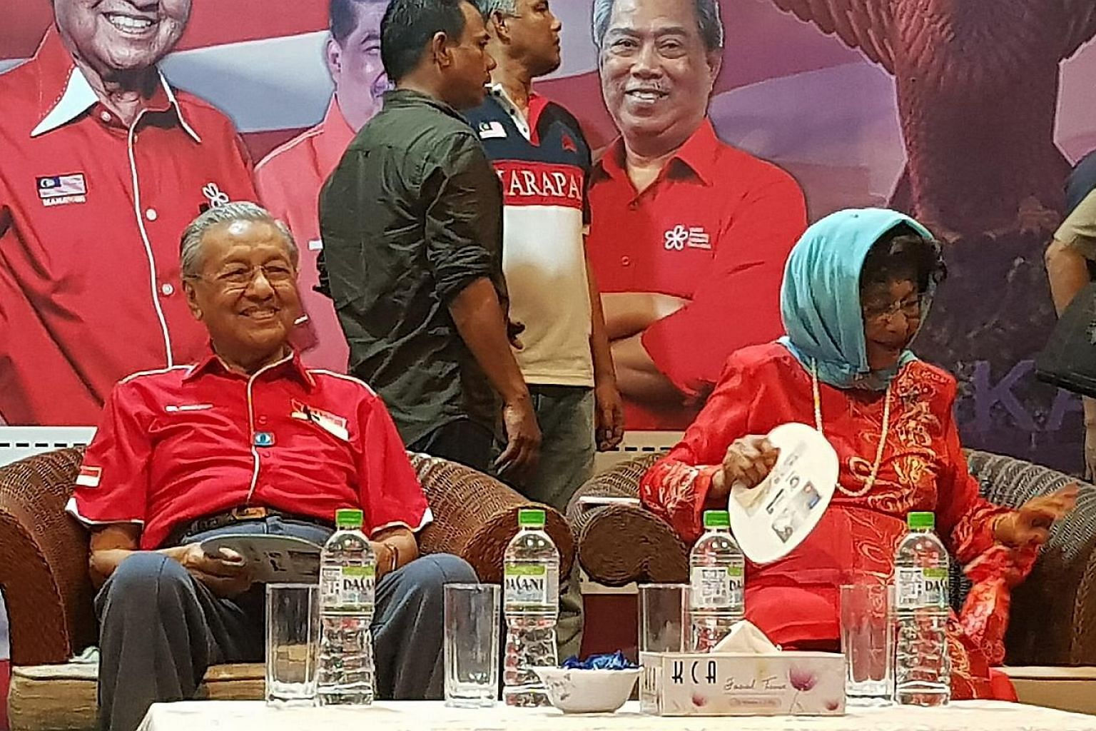 Tun Dr Mahathir Mohamad and his wife Siti Hasmah Mohd Ali at the rally in Langkawi yesterday, which was attended by other senior opposition leaders and several thousand supporters. The Malay-majority island has never fallen into the hands of the oppo