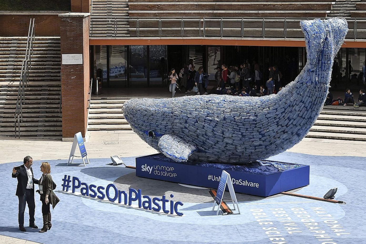 "This giant ""whale"" in front of the Auditorium Parco della Musica in Rome, Italy, is 10m long and is made up of 250kg of plastic waste. That is also the amount of plastic that goes into the ocean every second. Plasticus, as the ""whale"" is called, was"