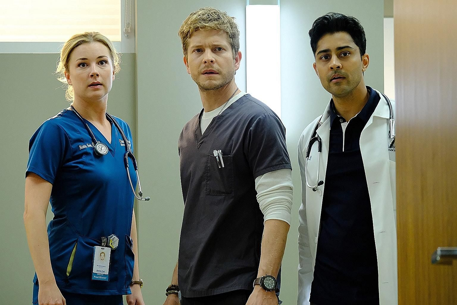 (From left) Emily VanCamp, Matt Czuchry and Manish Dayal star in The Resident.