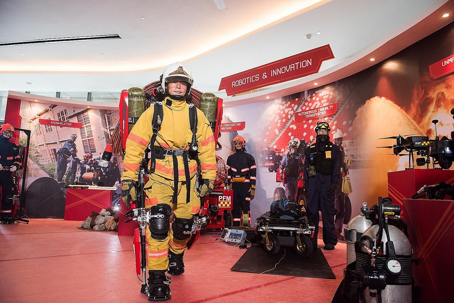Among the innovations launched yesterday is the SCDF Exoskeleton, a frame to be worn by firefighters. It bears the weight of firefighting equipment and comes with pneumatic pistons that will help to push firefighters up when they are climbing stairs.