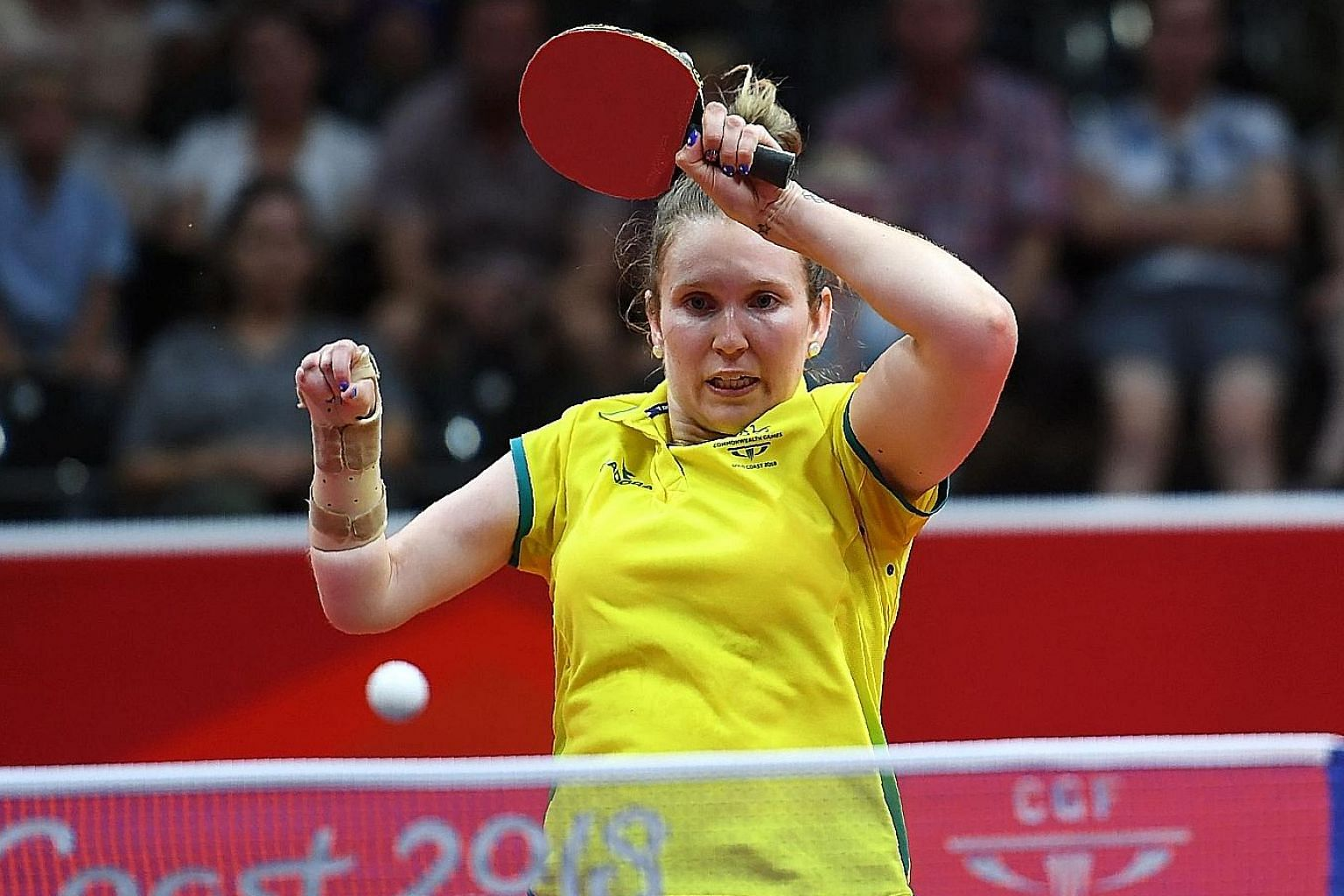 Australia's Melissa Tapper on her way to winning the women's TT6-10 singles gold medal against Nigeria's Faith Obazuaye at the Gold Coast Commonwealth Games on April 14.