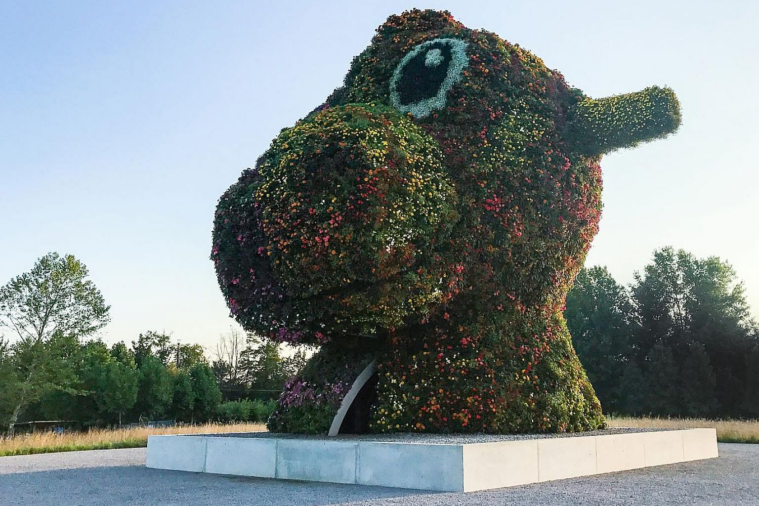 Split-Rocker at the Glenstone art museum in Potomac, Maryland, represents the heads of two child's rockers - one is of a toy pony, the other a dinosaur. Planting its upper section is done with the help of a cherry picker.