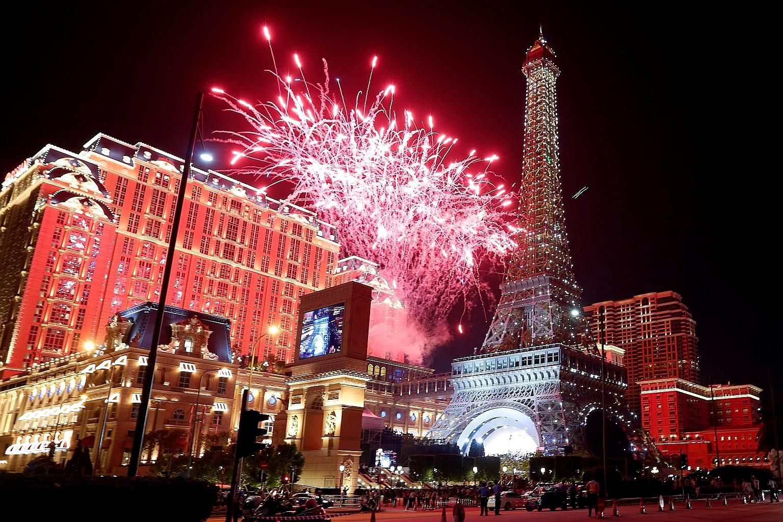 Fireworks dazzled at the Parisian, Las Vegas Sands' newest property in Macau, which debted in September 2016. The group saw overall casino revenue in Macau grow 22 per cent in the first quarter.