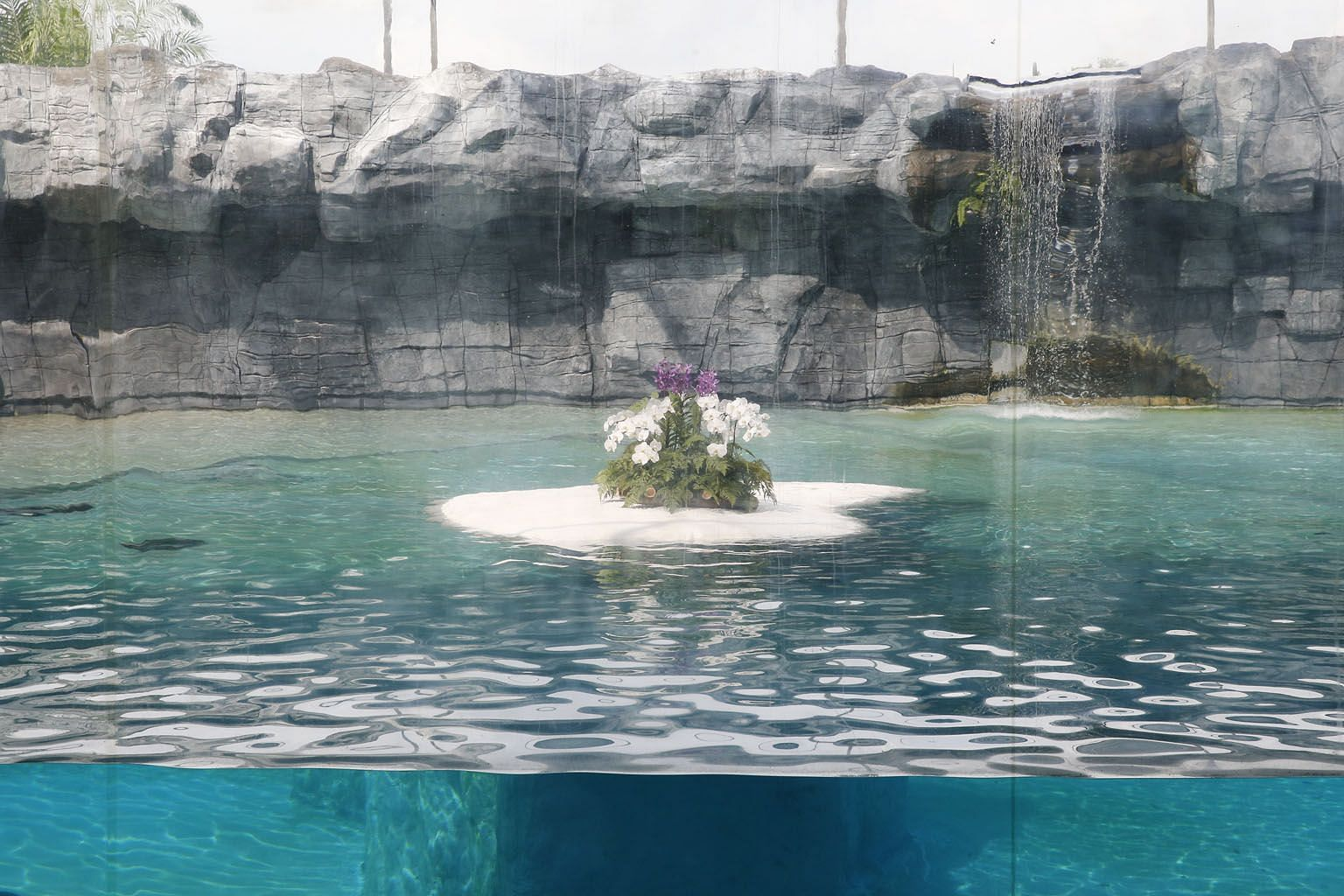 Members of the audience holding back tears as Mr Mohan Ponichamy spoke during the private tribute ceremony for Inuka yesterday at the Singapore Zoo. Below: Flowers placed in Inuka's enclosure after he was put down humanely on Wednesday following a me