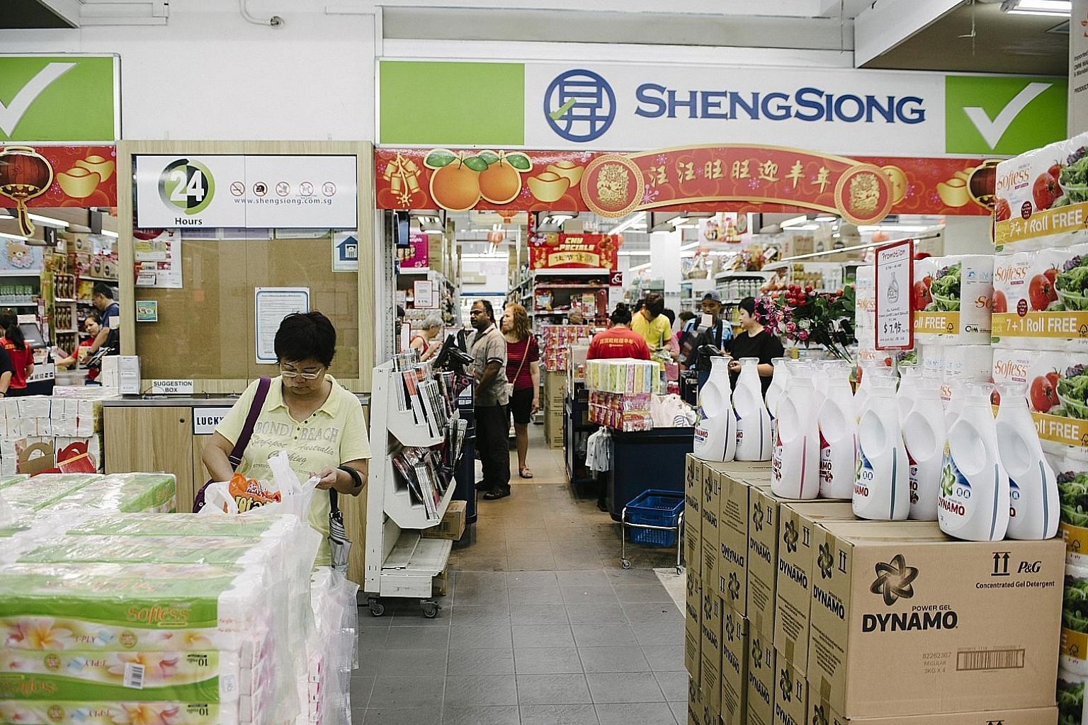 "Sheng Siong's floor space in Singapore was down 4.6 per cent to 436,000 sq ft, in spite of four new stores opening. The group now has 48 supermarkets here. The firm added that it will keep looking for retail space and will continue to bid ""in a ratio"