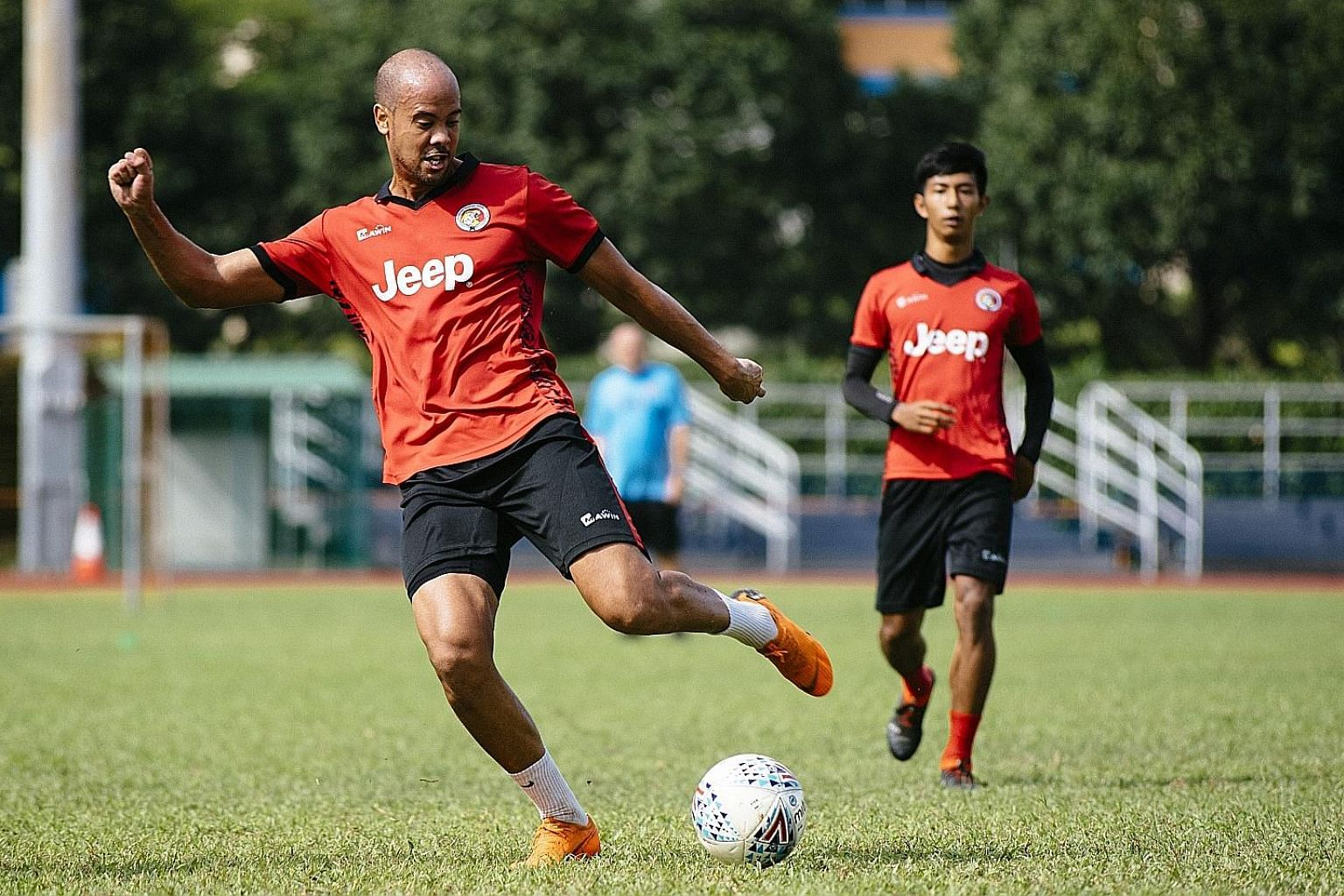 Balestier Khalsa striker Keegan Linderboom training at Toa Payoh Stadium. He has netted thrice in five games and the team are sitting pretty in third place in the standings.