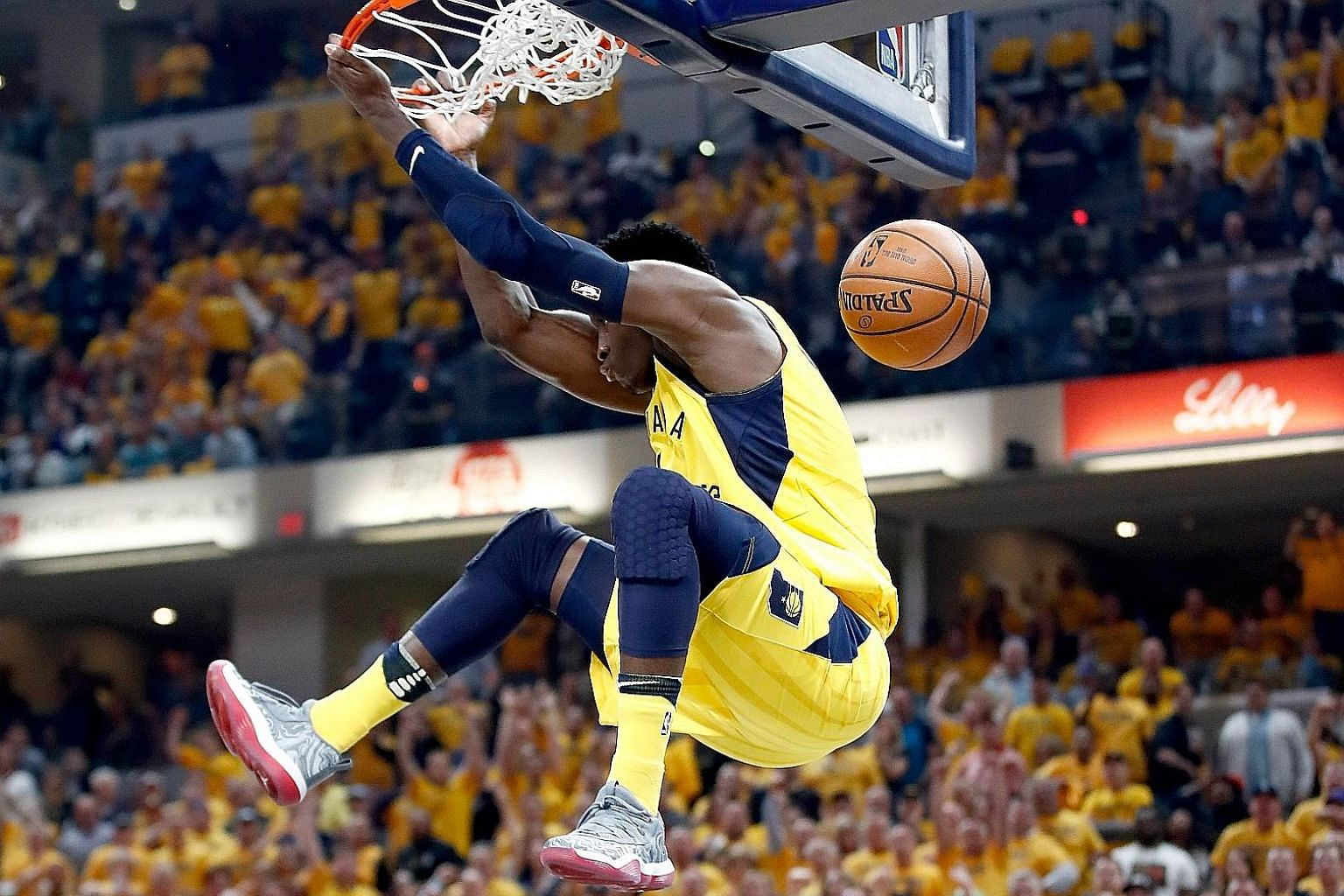 Inspired by Victor Oladipo's first play-off triple double (28 points, 13 rebounds and 10 assists), the Indiana Pacers beat the Cavaliers 121-87 to level the first-round tie at 3-3. Game 7 is today (tomorrow morning, Singapore time) in Cleveland.